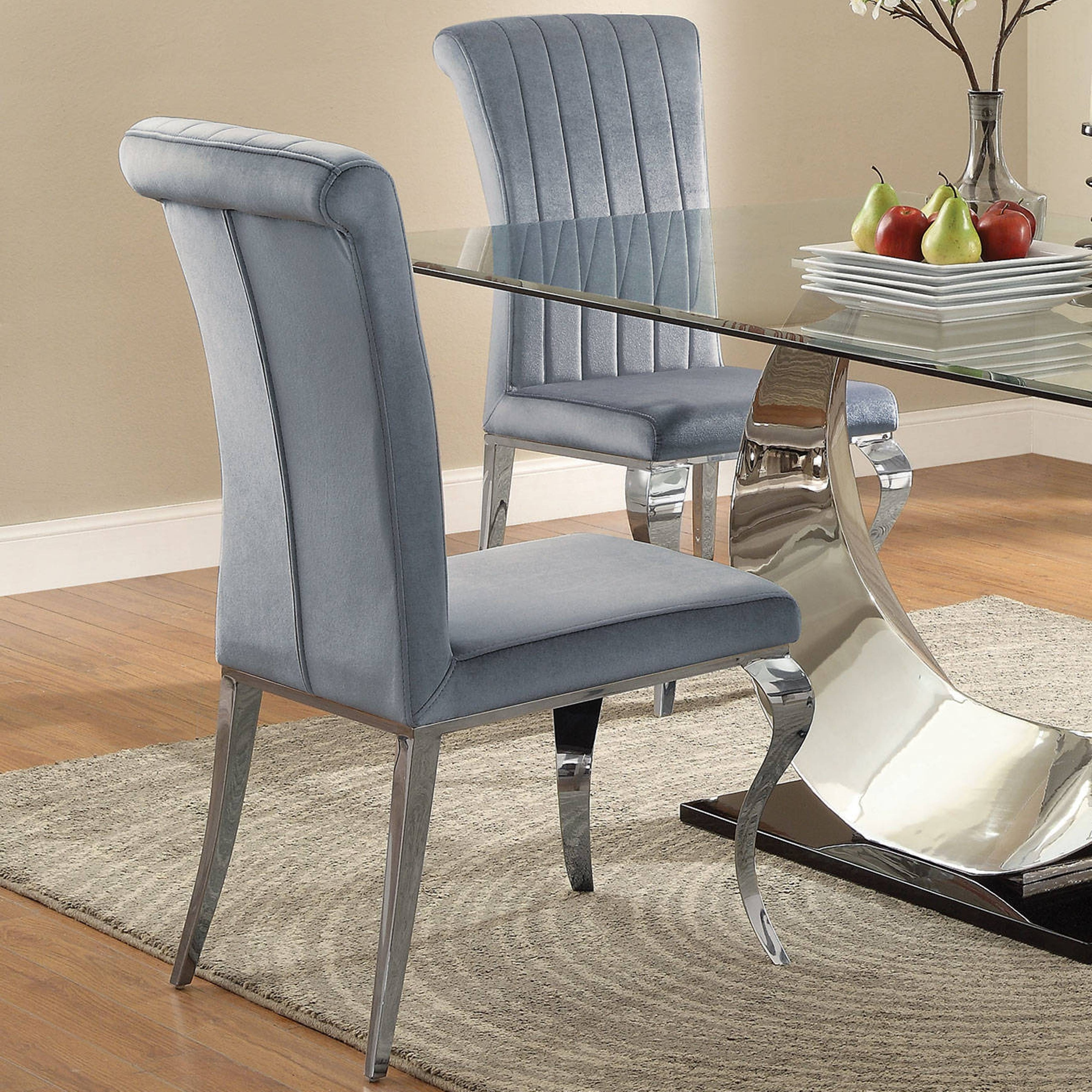 Best And Newest Pilo Grey Side Chairs Pertaining To Shop Cabriole Design Stainless Steel With Grey /silver Velvet Dining (View 12 of 20)
