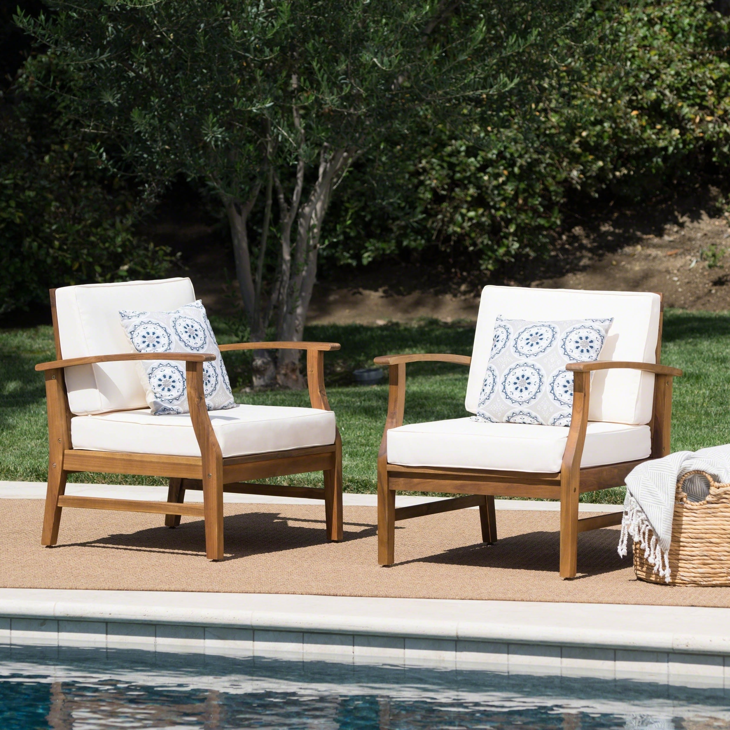 Best And Newest Shop Perla Outdoor Acacia Wood Club Chair With Cushion (set Of 2) For Perla Side Chairs (View 17 of 20)