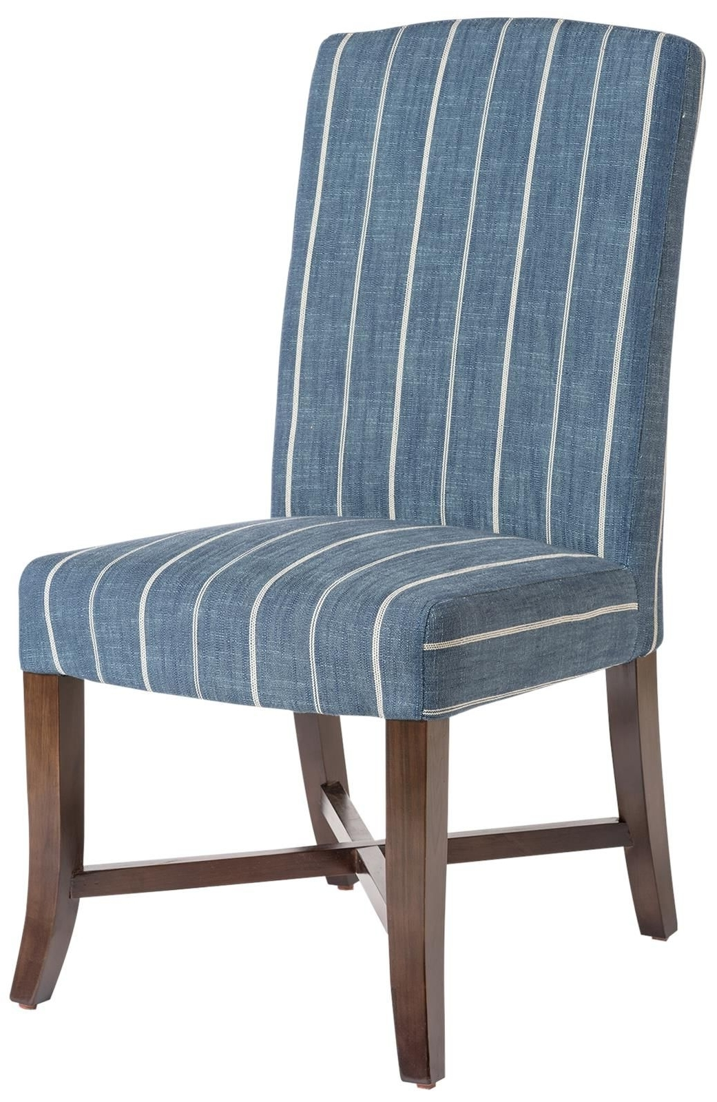 Blue Stripe Dining Chairs For Popular Dining Chair Mercer Revere Indigo Blue Stripe Fabric Dark Walnut (View 3 of 20)