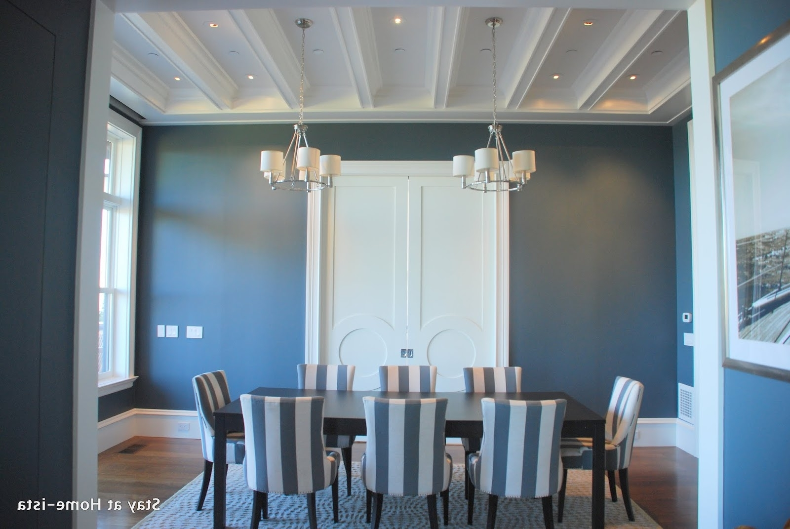 Blue Stripe Dining Chairs In Famous Stay At Home Ista: Charcoal Grey Dining Room (View 4 of 20)