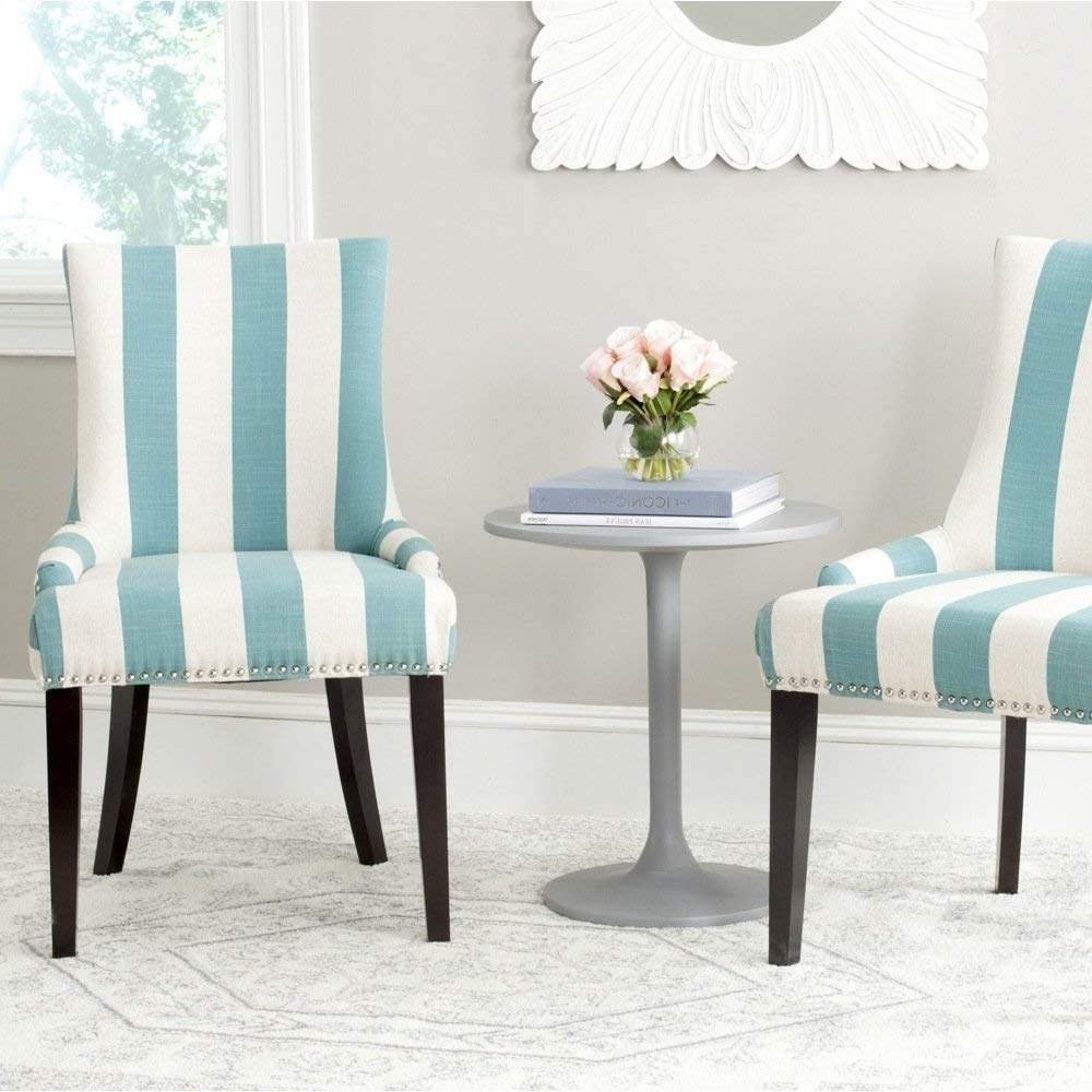 Blue Stripe Dining Chairs Inside 2017 Amazon – Safavieh Mercer Collection Lester Dining Chair, Aqua (View 5 of 20)