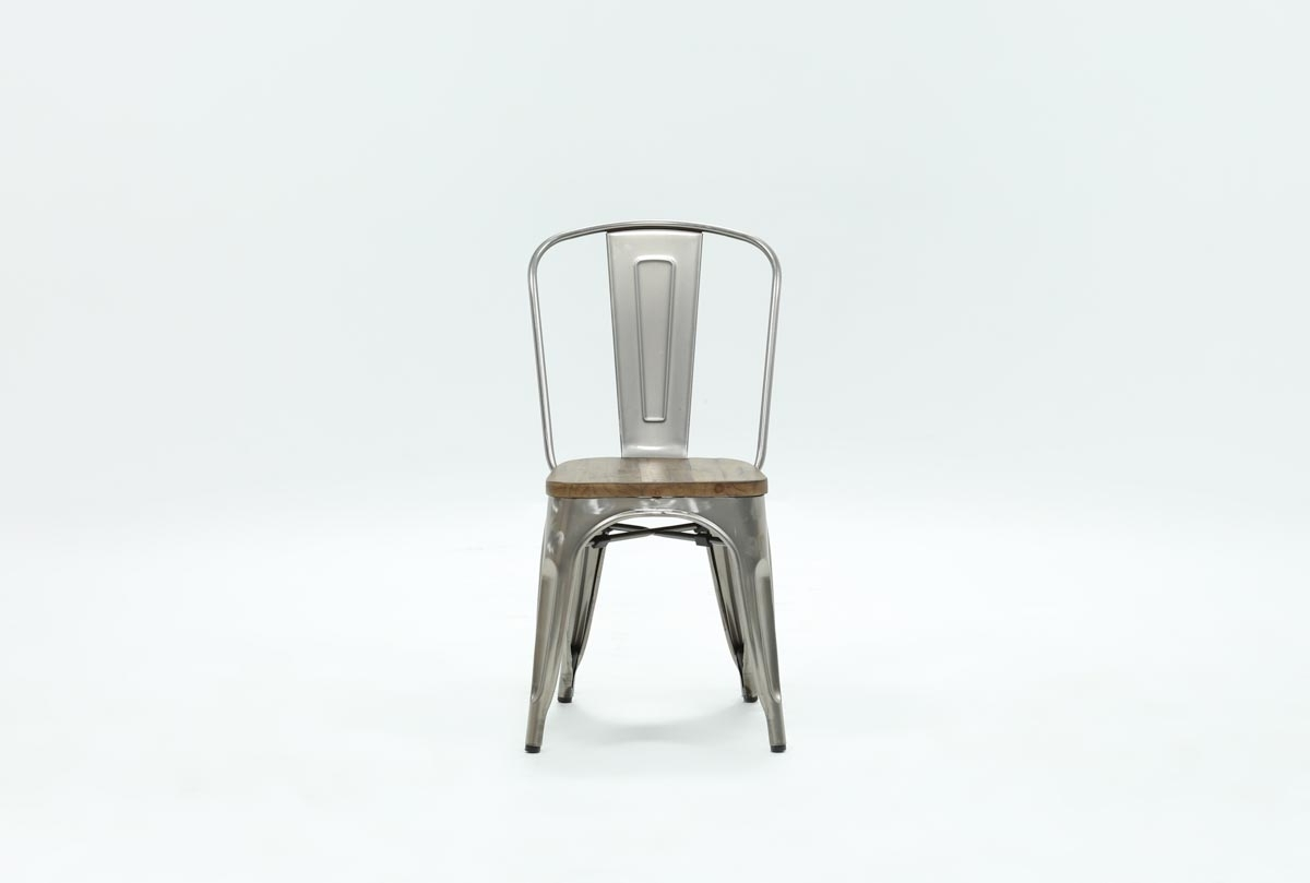 Burton Metal Side Chair With Wooden Seat (View 4 of 20)