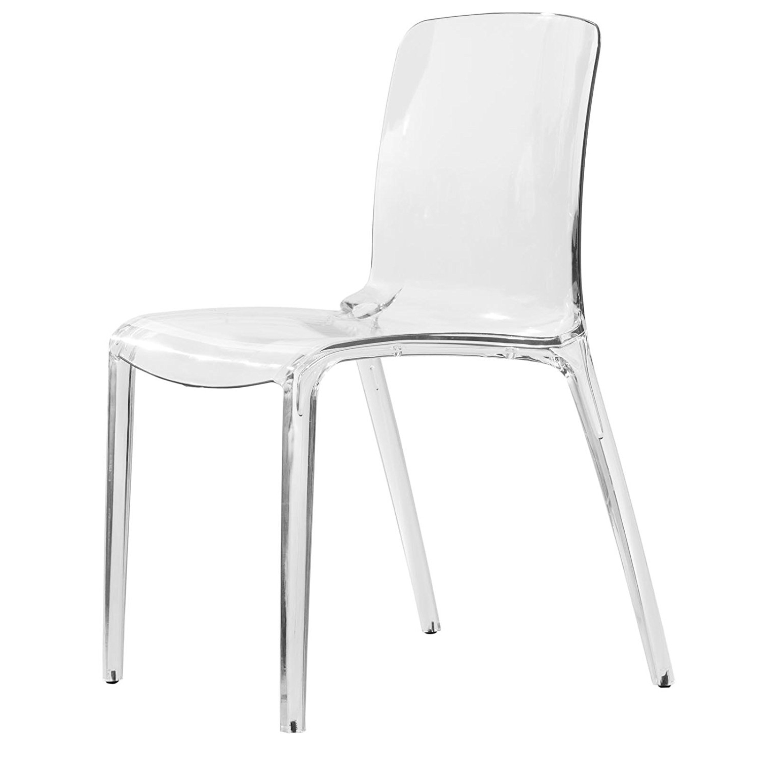 Burton Metal Side Chairs With Wooden Seat For Best And Newest Amazon – Leisuremod Murray Modern Dining Chair, Clear – Chairs (View 5 of 20)