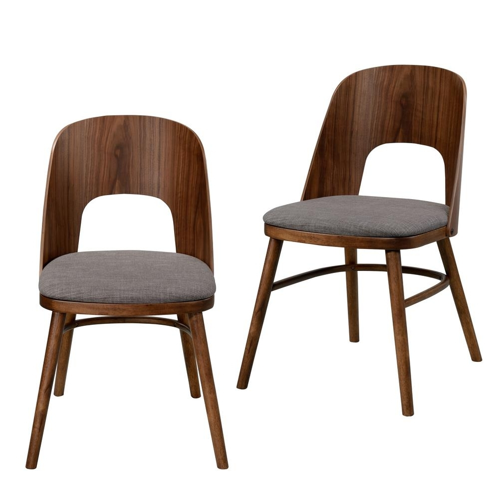 Burton Metal Side Chairs With Wooden Seat Intended For Recent Handy Living Georgetown Walnut Armless Dining Chair With Cut Out (View 6 of 20)
