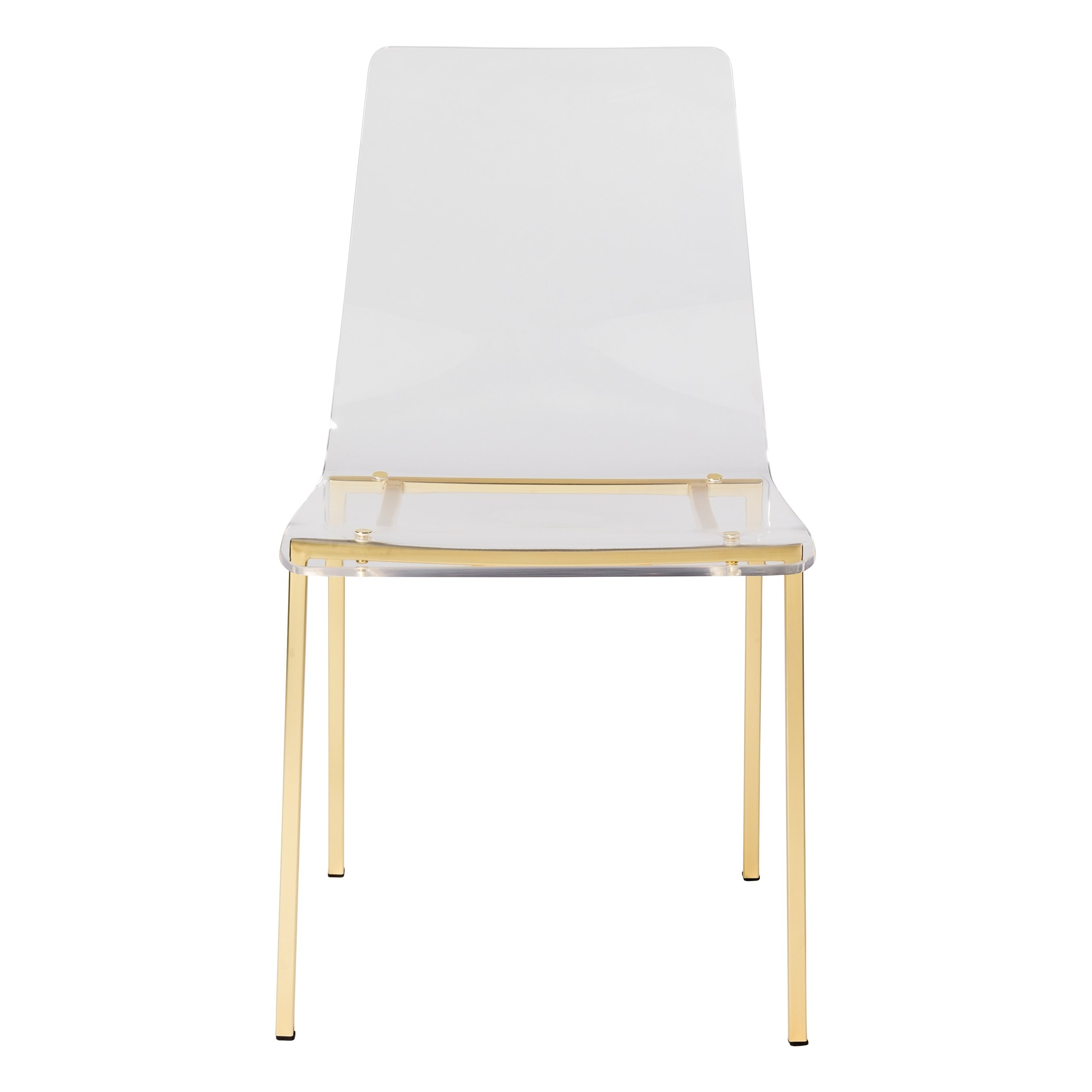 Burton Metal Side Chairs With Wooden Seat With Regard To Well Known Shop Chloe Side Chair In Clear Acrylic With Matte Brushed Gold Legs (View 7 of 20)