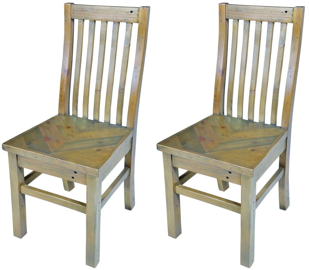 Buy Bruton Parquet Reclaimed Wood Dining Chair (pair) Online – Cfs Uk Regarding Recent Parquet Dining Chairs (View 13 of 20)