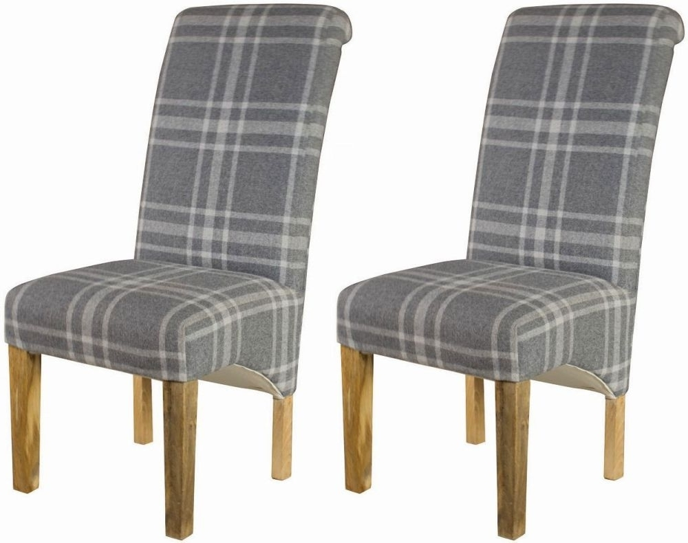 Buy Grey Tartan Dining Chair (pair) Online – Cfs Uk With Most Current Grey Dining Chairs (View 4 of 20)