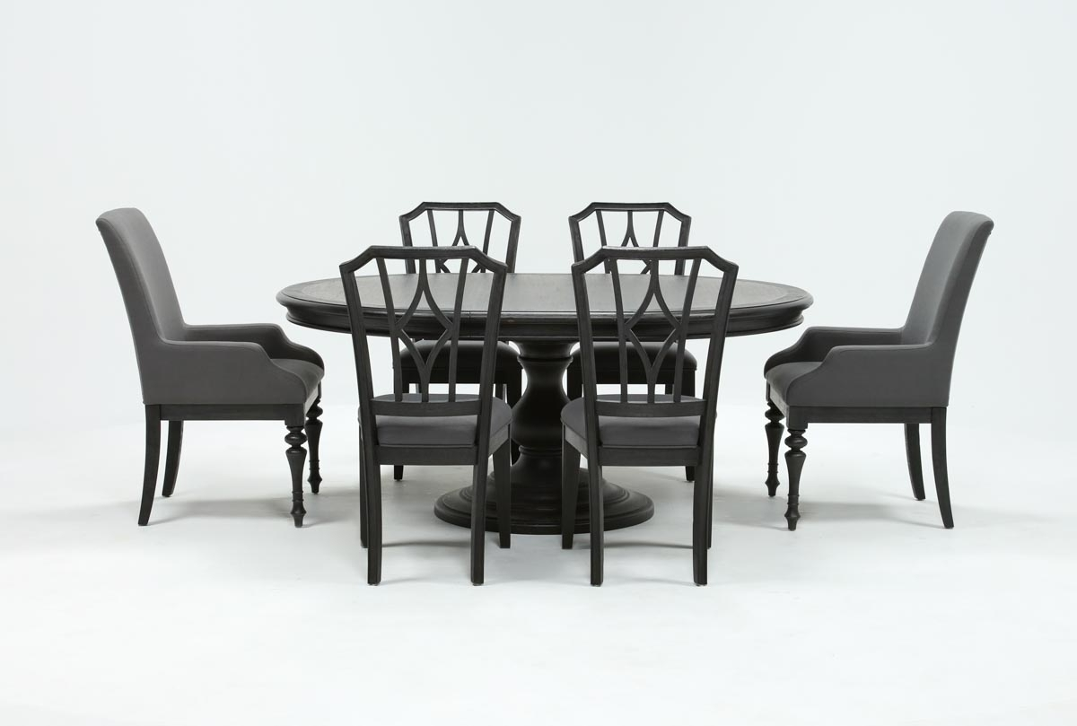 Caira Black 7 Piece Dining Set W/arm Chairs & Diamond Back Chairs With Well Liked Caira Black Upholstered Arm Chairs (View 2 of 20)