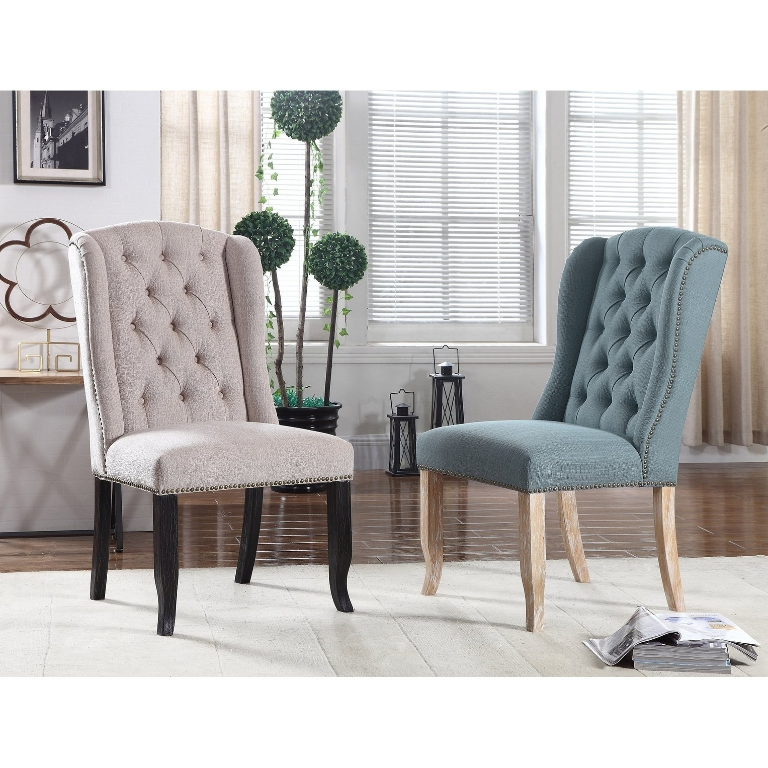 Caira Black Upholstered Side Chairs Pertaining To Most Recent Shop Best Master Furniture Upholstered Wingback Side Chairs (set Of (View 20 of 20)