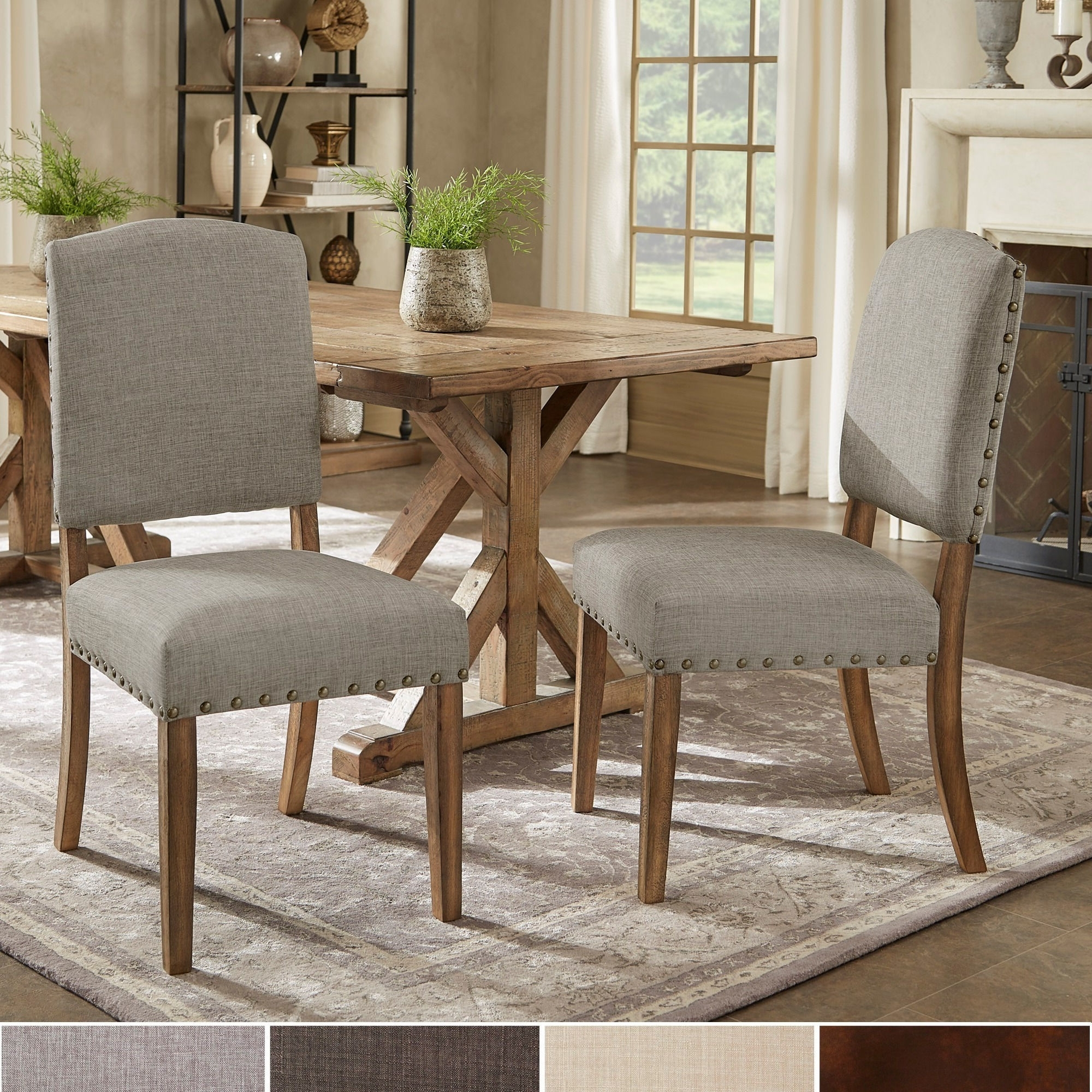 Candice Ii Upholstered Side Chairs Throughout 2017 Shop Benchwright Premium Nailhead Upholstered Dining Chairs (Set Of (View 18 of 20)