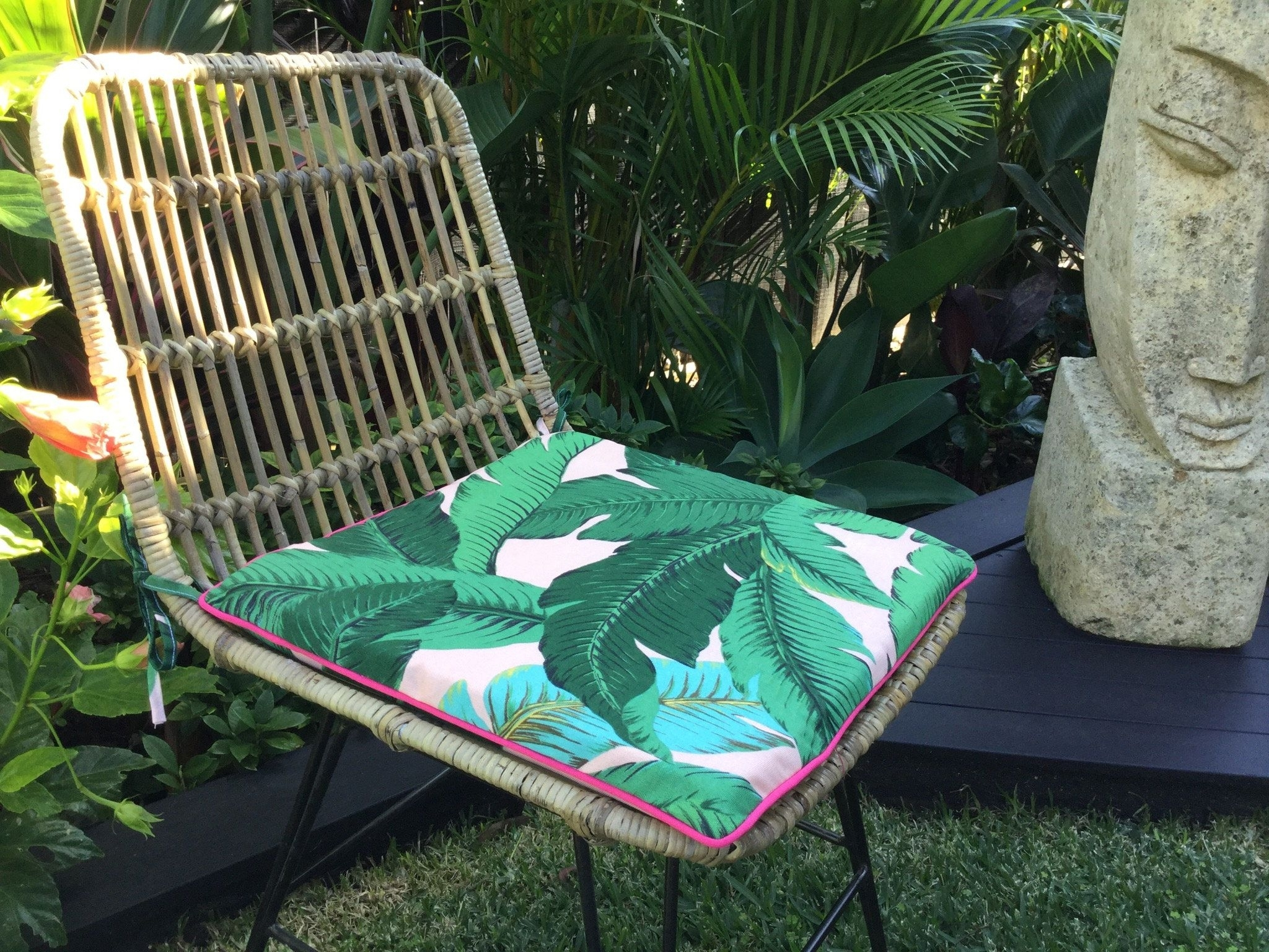 Chair Pads, Palm Leaf Cushions, Banana Leaf Outdoor Cushions For Most Recent Banana Leaf Chairs With Cushion (View 8 of 20)