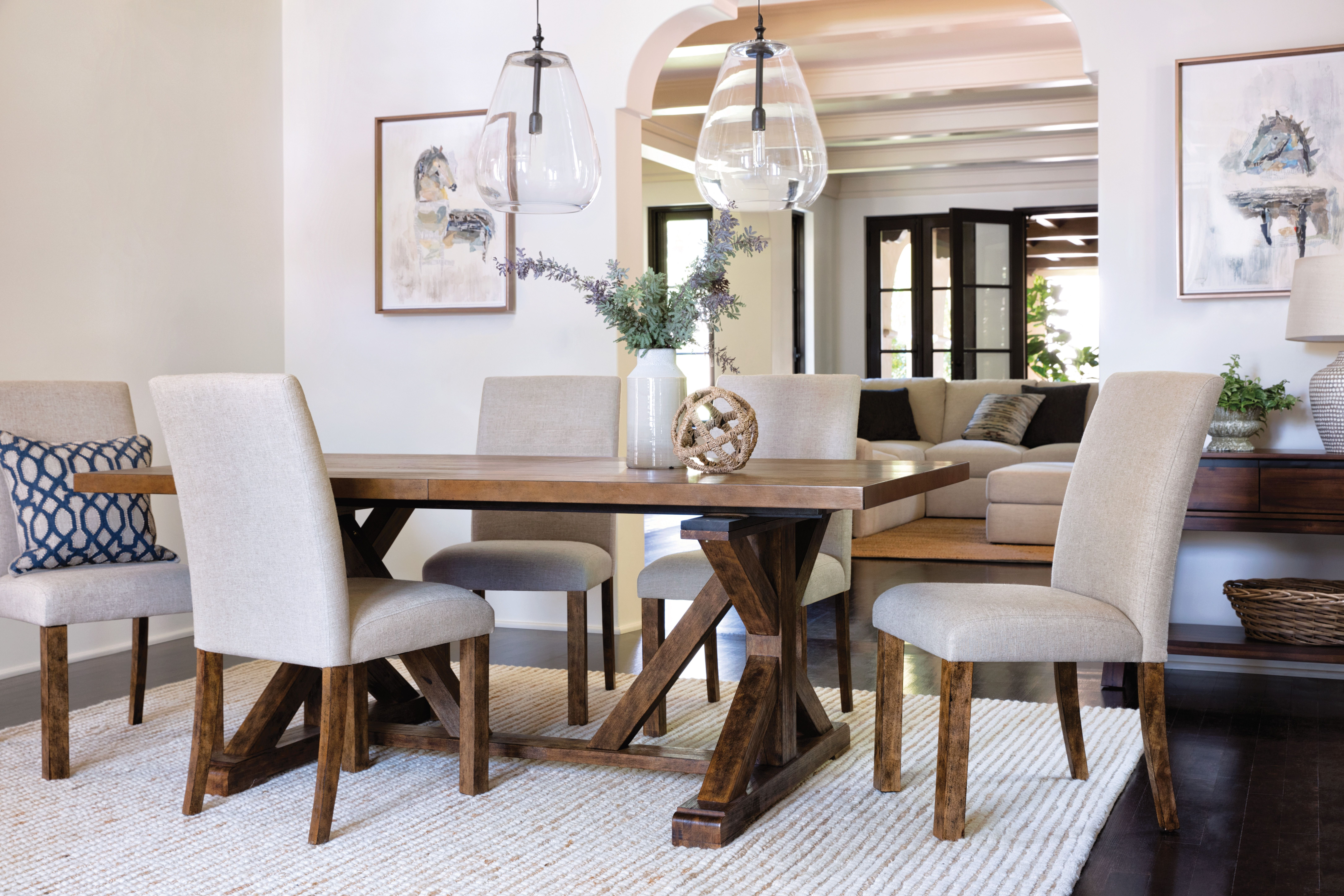 Chandler 7 Piece Extension Dining Set W/fabric Side Chairs (View 5 of 20)