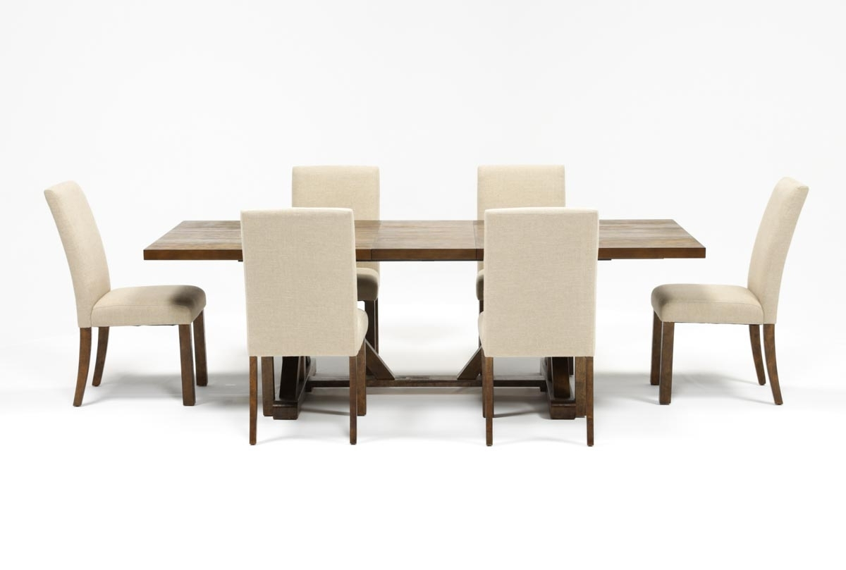 Chandler 7 Piece Extension Dining Set W/fabric Side Chairs (View 4 of 20)