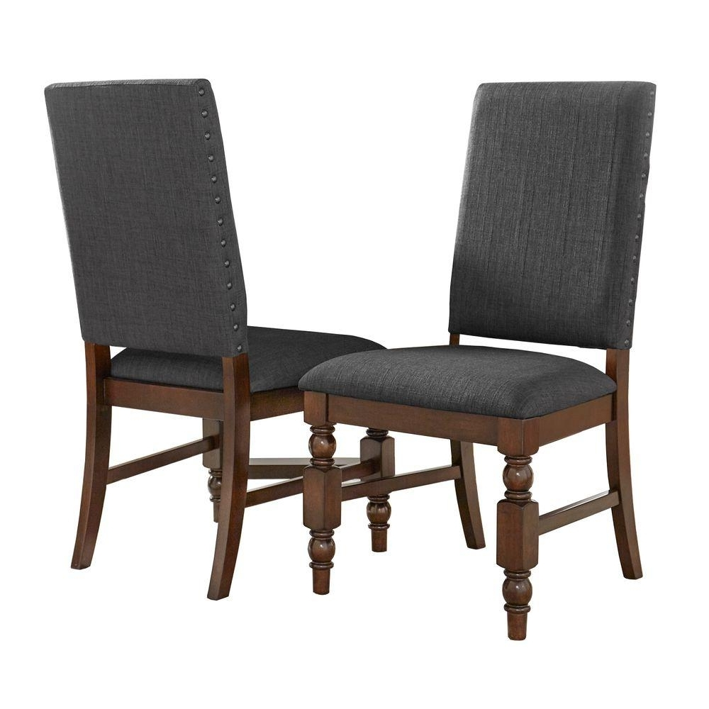 Charcoal Dining Chairs Regarding Most Up To Date Homesullivan Maxine Charcoal Linen Dining Chair (Set Of  (View 4 of 20)