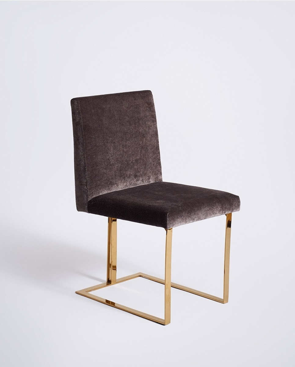 Charcoal Dining Chairs Regarding Well Known Edwards Dining Chair, Gold Frame Charcoal Velvet – Dining Chairs (View 5 of 20)