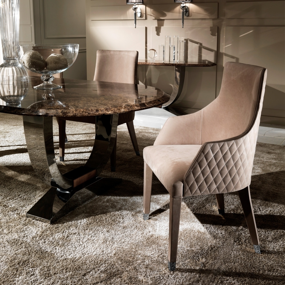 Contemporary Quilted Nubuck Leather Italian Dining Chairs Regarding Current Quilted Black Dining Chairs (View 6 of 20)