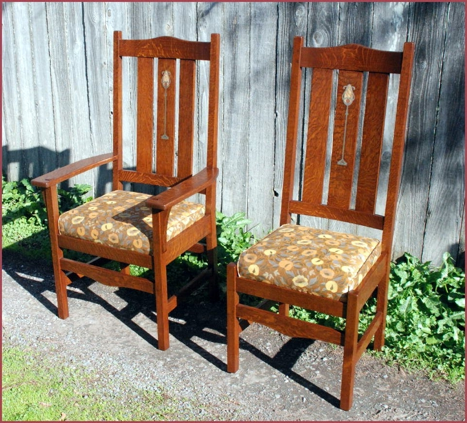 Craftsman Upholstered Side Chairs In Popular Voorhees Craftsman Mission Oak Furniture – Gustav Stickley Harvey (View 8 of 20)
