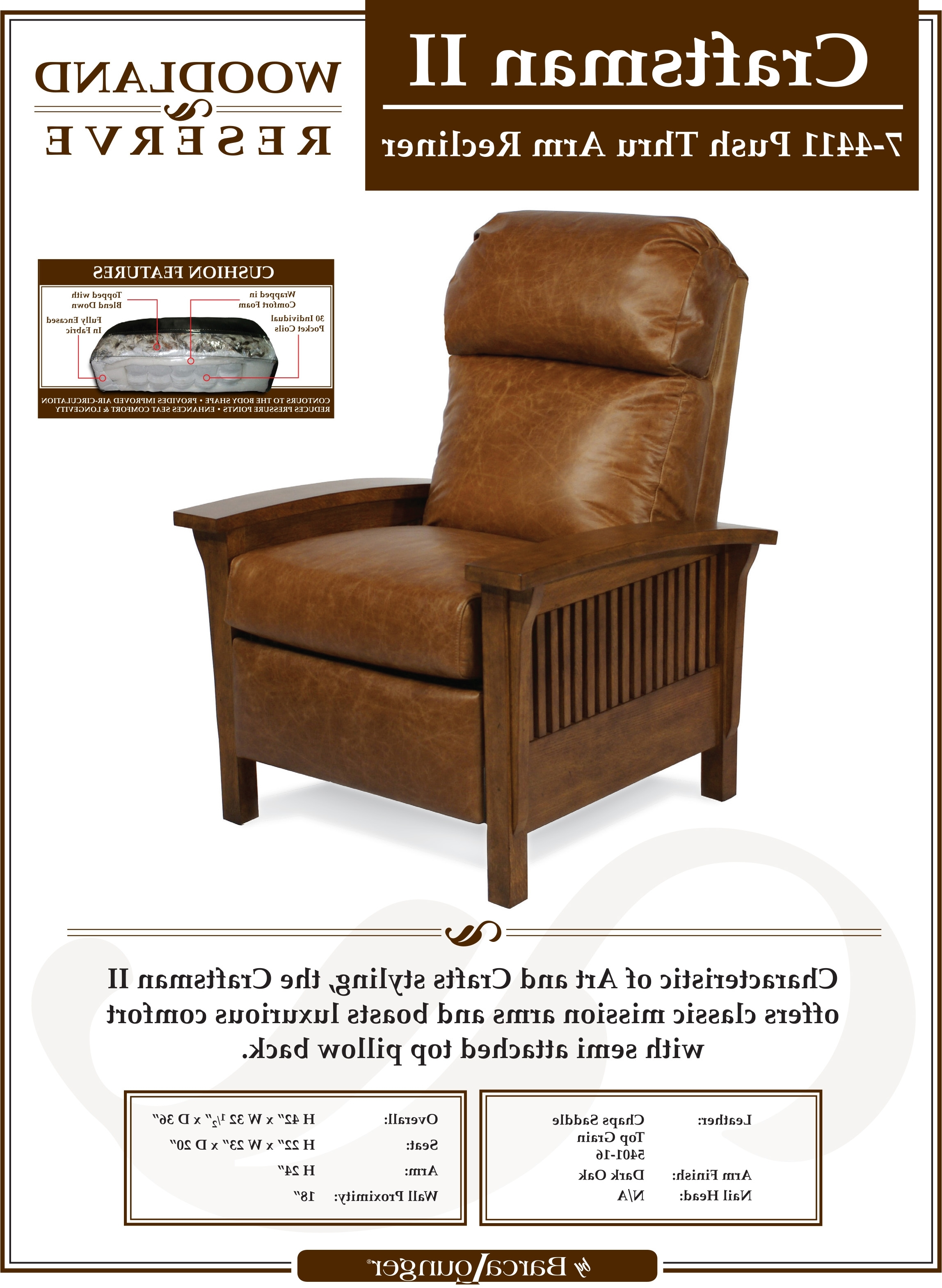 Craftsman Upholstered Side Chairs Inside Famous Barcalounger Craftsman Ii Recliner Chair – Leather Recliner Chair (View 20 of 20)
