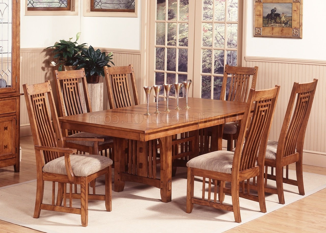 Craftsman Upholstered Side Chairs With Regard To Popular Mission Oak Finish Casual Dining Room Table W/options (View 16 of 20)