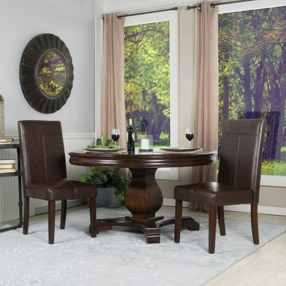 Crawford Side Chairs Pertaining To Popular Berkley Chocolate Brown Faux Leather Parsons Dining Chairs (set Of (View 17 of 20)
