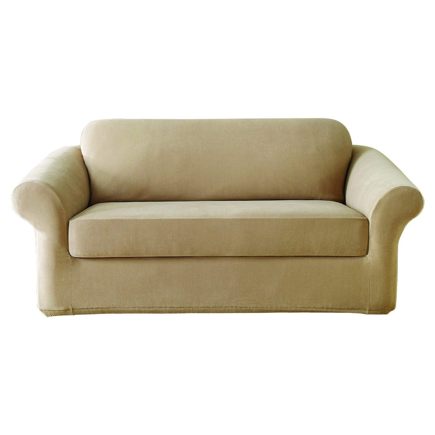 Current Amazon: Sure Fit Stretch Pearson 2 Piece – Sofa Slipcover – Dark Regarding Pearson White Slipcovered Side Chairs (View 5 of 20)