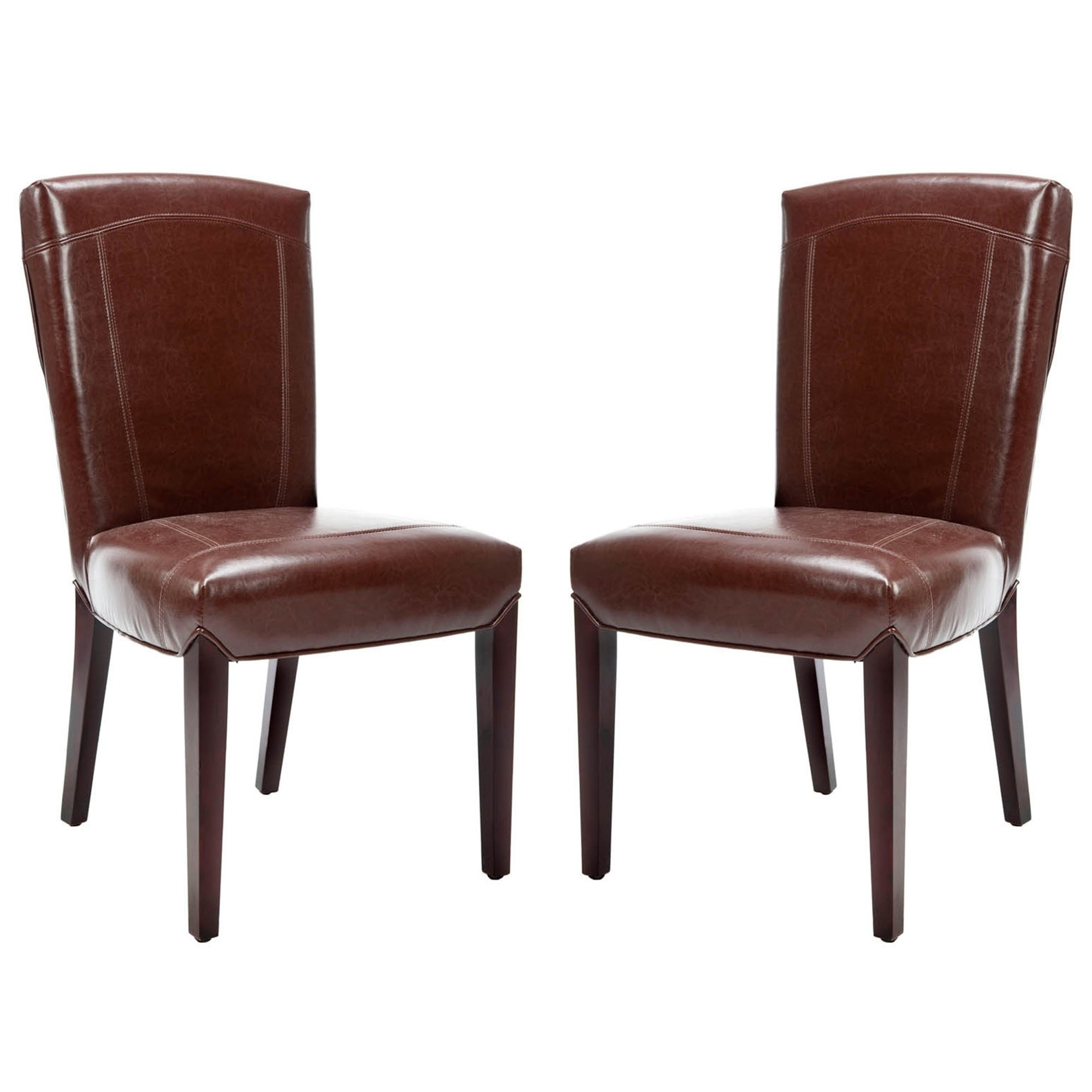 Current Bowery Ii Side Chairs Pertaining To Shop Safavieh Parsons Dining Bowery Brown Marbled Leather Dining (View 12 of 20)