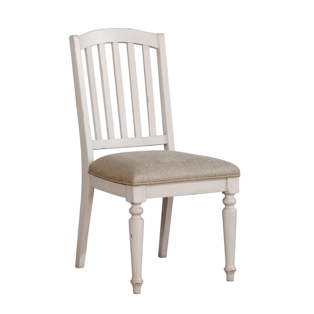 Current Furniture Of America Chandler Antique White Fabric Slat Side Chair Within Chandler Fabric Side Chairs (View 11 of 20)