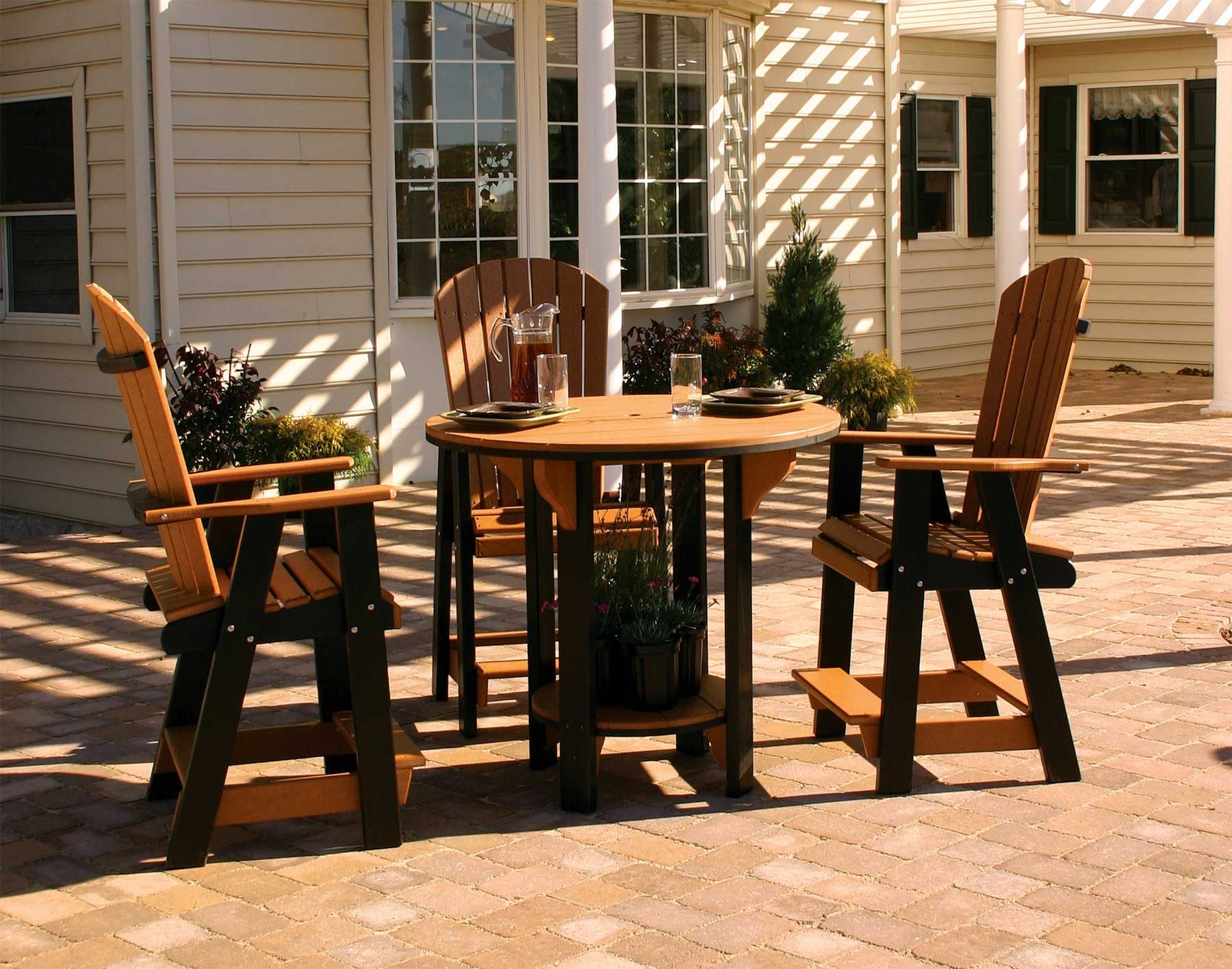 Current Green Cedar Dining Chairs Regarding Poly Lumber Pub Table W/3 Balcony Chairs (View 11 of 20)