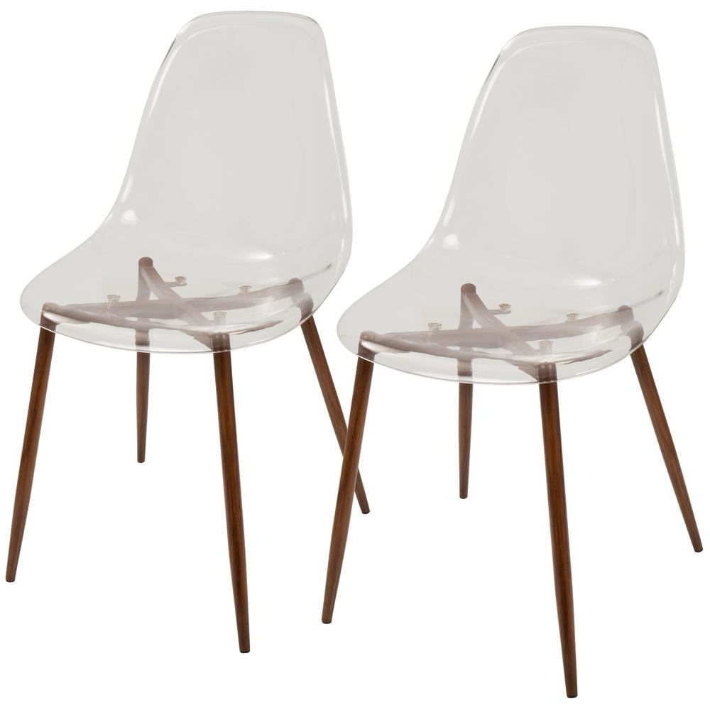 Current Lumisource Clara Mid Century Clear Acrylic And Walnut Modern Dining Intended For Burton Metal Side Chairs With Wooden Seat (View 10 of 20)