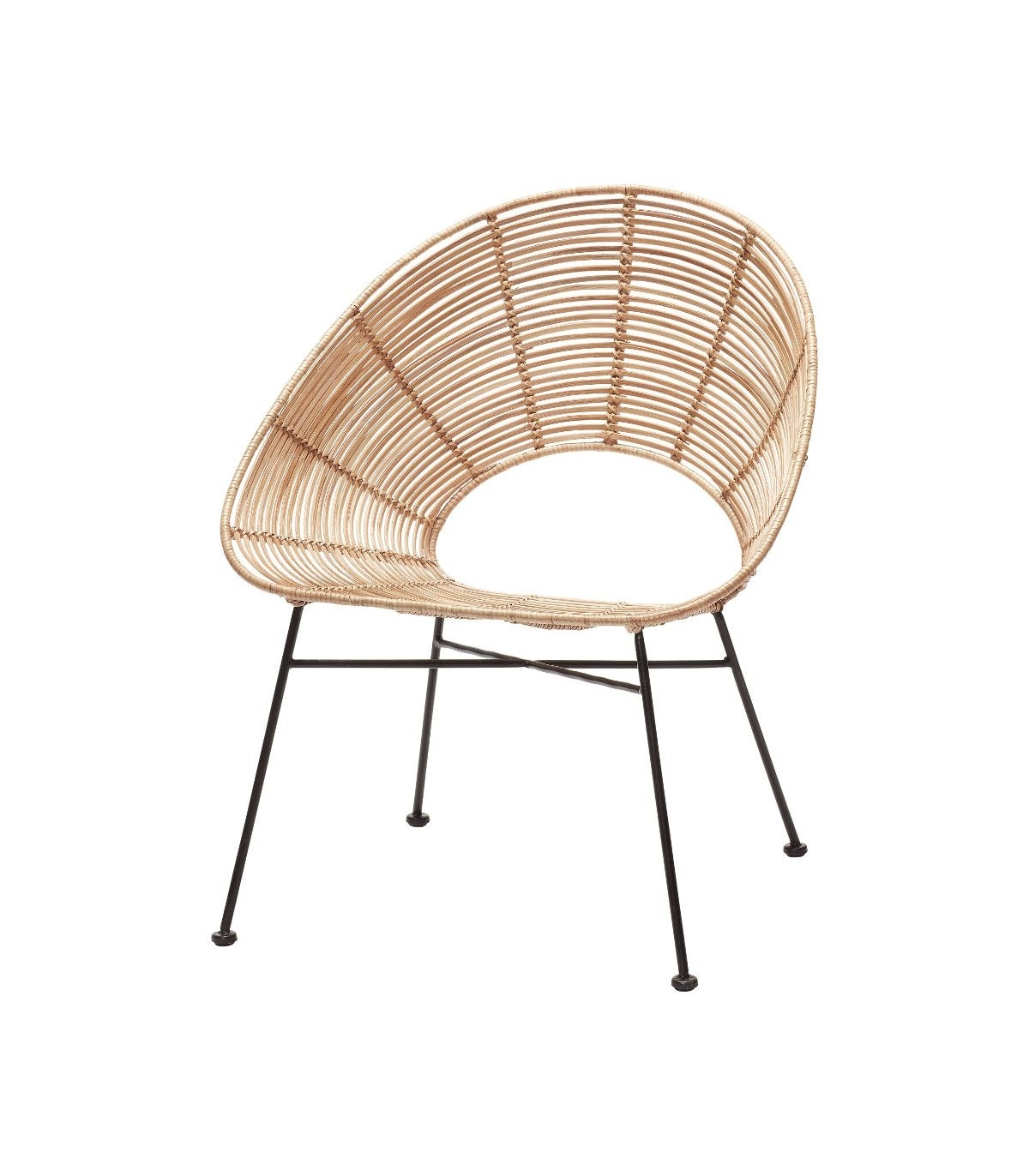 Current Natural Rattan Metal Chairs Pertaining To Round Chair Natural Rattan & Metal Hübsch (View 6 of 20)