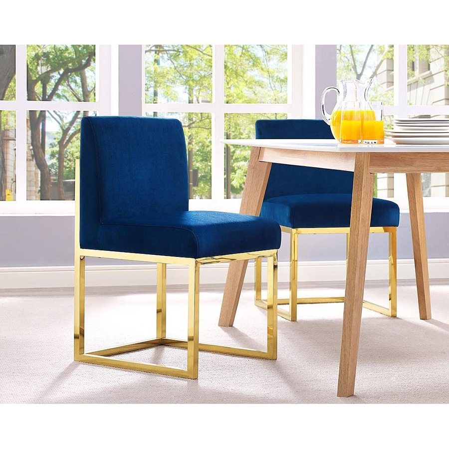 Dining Chairs With Blue Loose Seat Intended For Favorite Probably Fantastic Ideal Gold Parsons Chairs Photo : Healthwithmms (View 4 of 20)