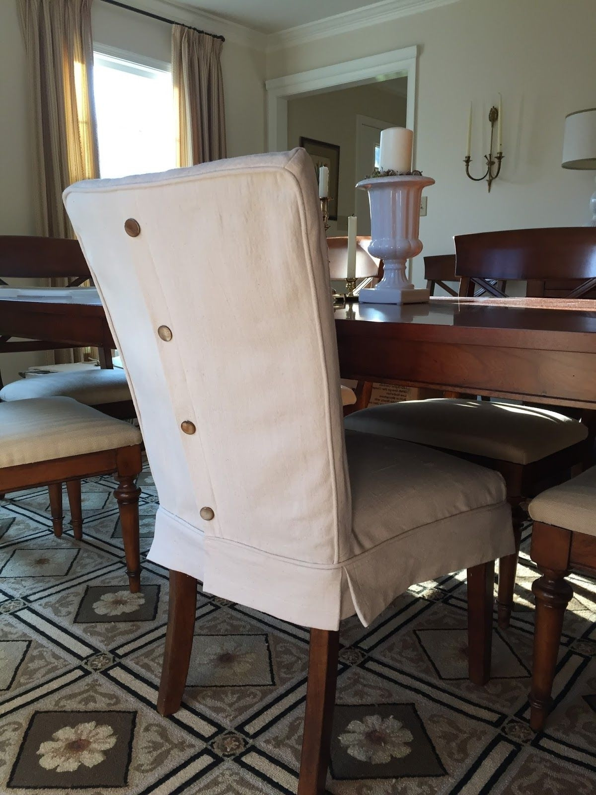 Dining Chairs With Blue Loose Seat With Regard To Most Up To Date Dropcloth Slipcovers For Leather Parsons Chairs (View 7 of 20)