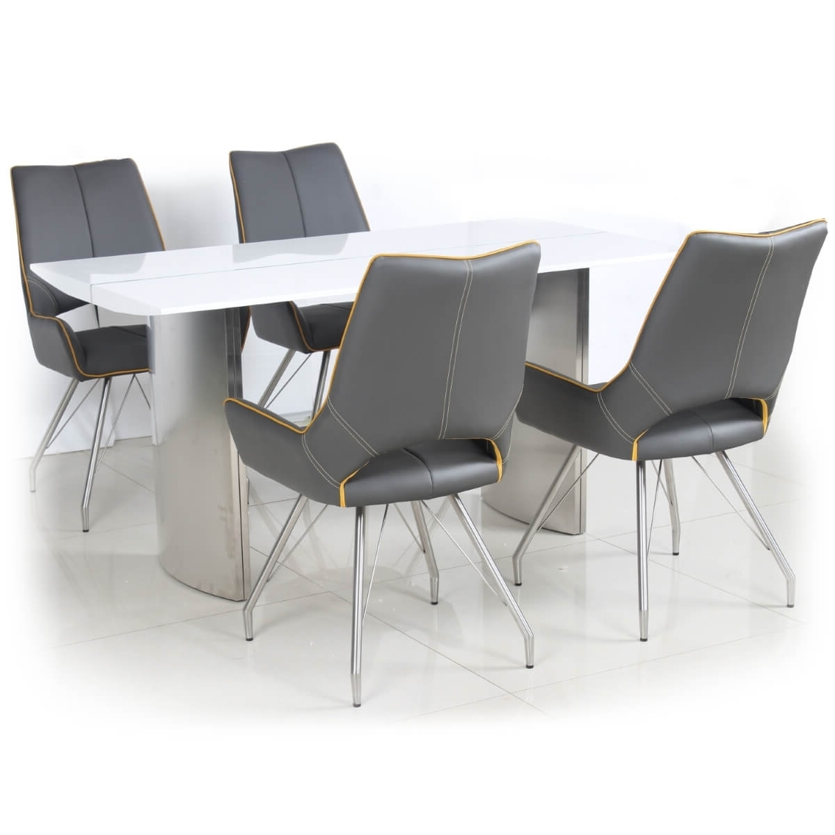 Dining Set – White High Gloss Dining Table And 4 Grey Dining Chairs With Trendy Grey Dining Chairs (View 18 of 20)