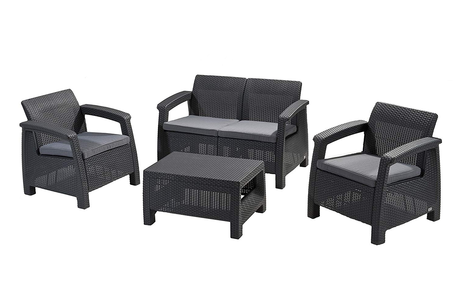 Famous Amazon: Keter Corfu 4 Piece Set All Weather Outdoor Patio Garden Regarding Garten Storm Chairs With Espresso Finish Set Of (View 2 of 20)