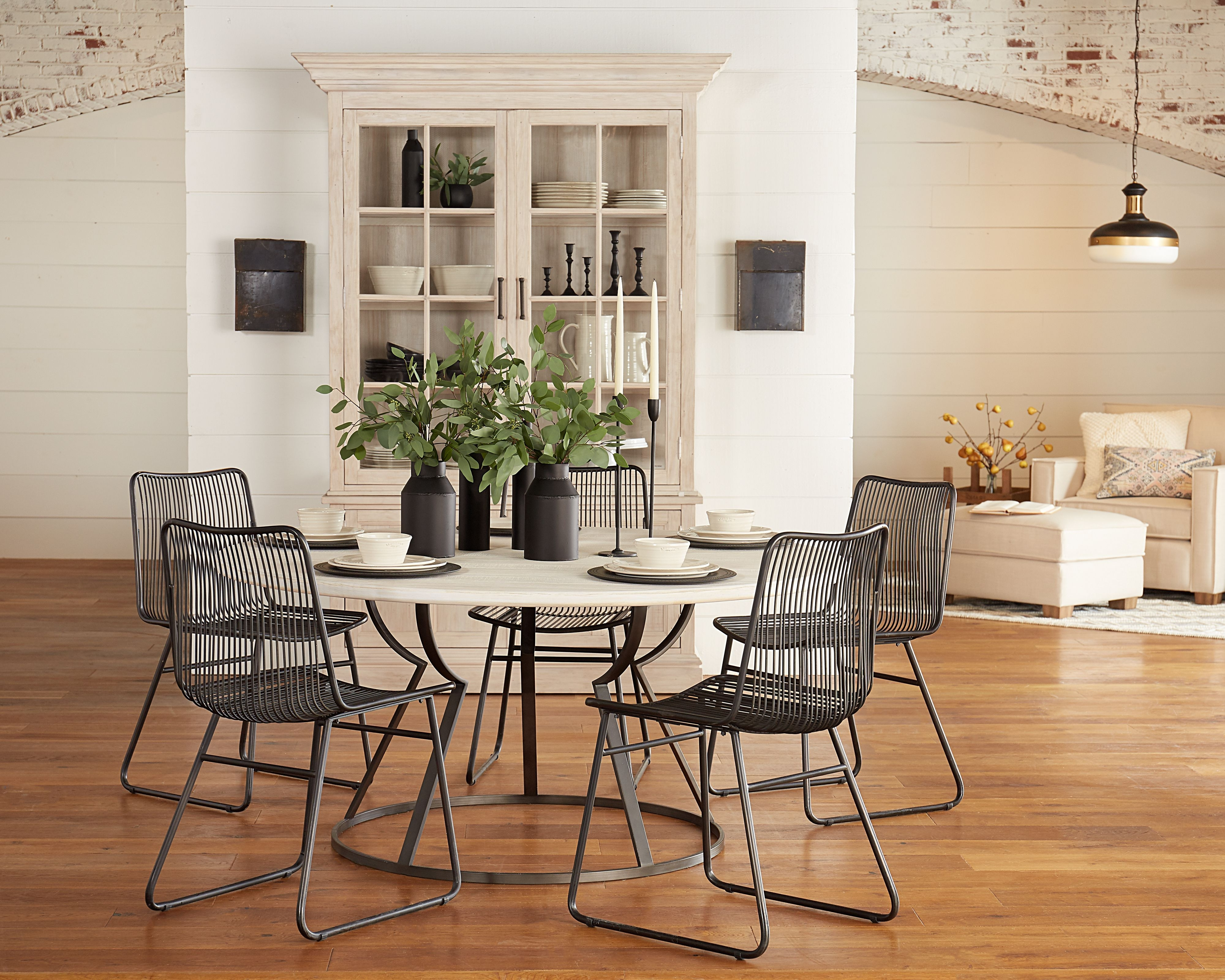 Famous Magnolia Home Revival Jo's White Arm Chairs Throughout Belford Dining Table With Dru Metal Chairs – Magnolia Home (View 1 of 20)
