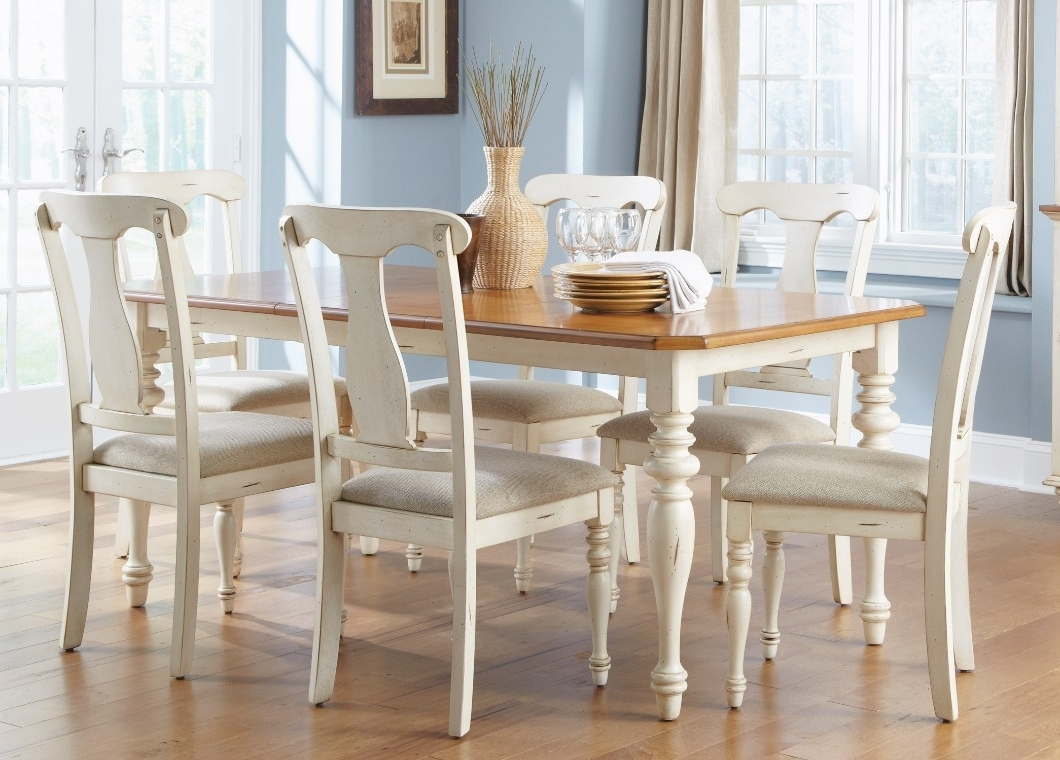 Fashionable Casual Dining Table In Bisque With Natural Pine Finish Solid Hardwoods Intended For Pine Wood White Dining Chairs (View 2 of 20)