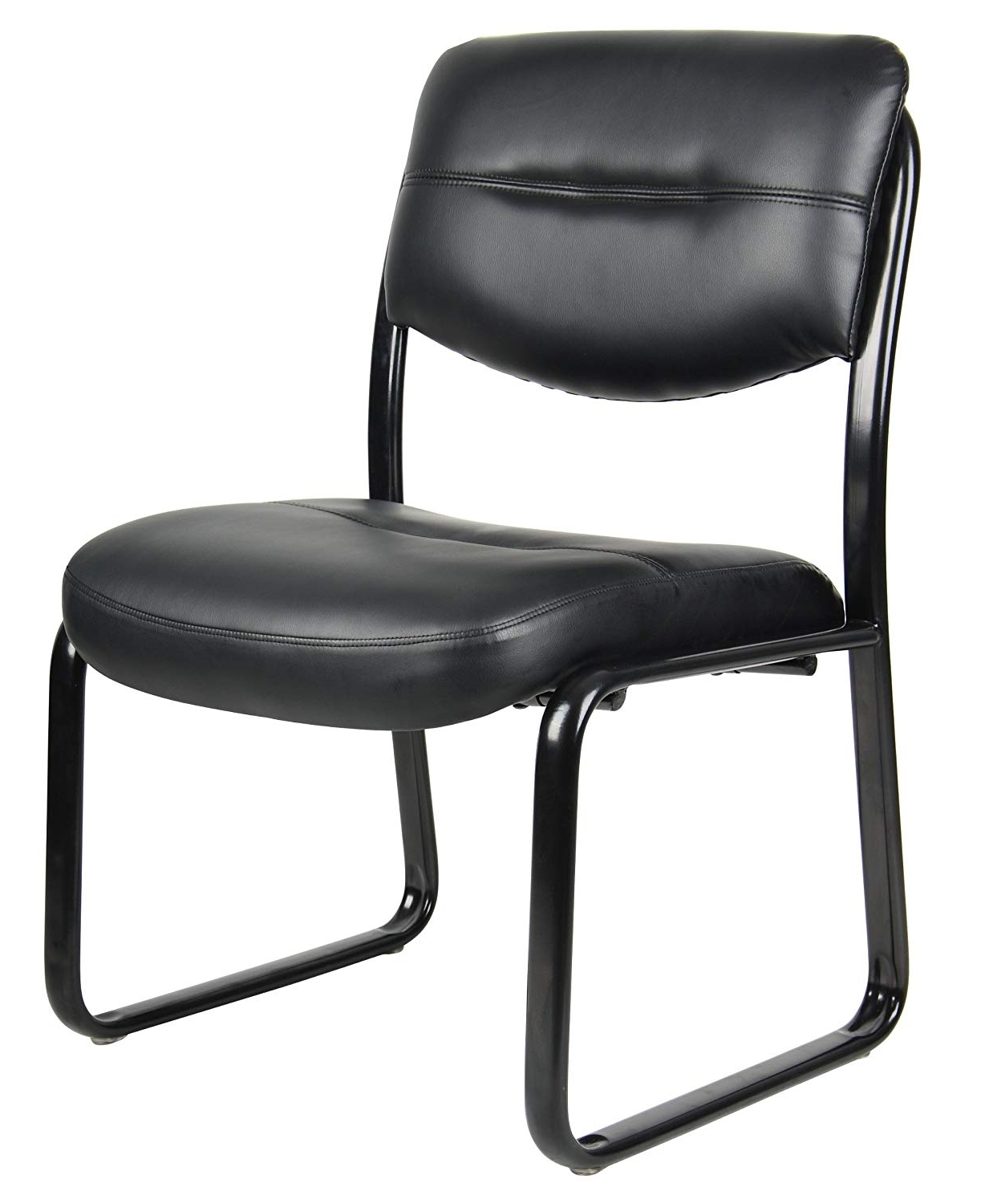 Fashionable Clint Side Chairs Intended For Amazon: Boss Office Products B9539 Leather Sled Base Side Chair (View 12 of 20)