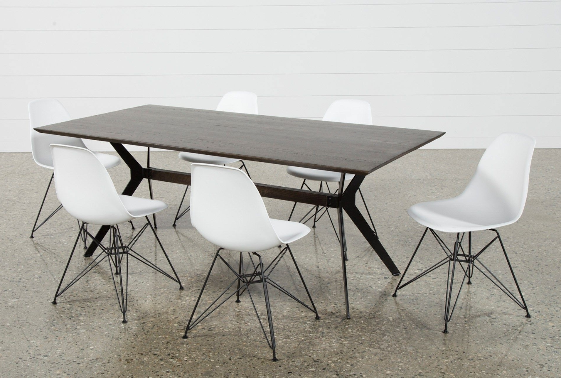 Fashionable Weaver Dark 7 Piece Dining Set With Alexa White Side Chairs (View 4 of 20)