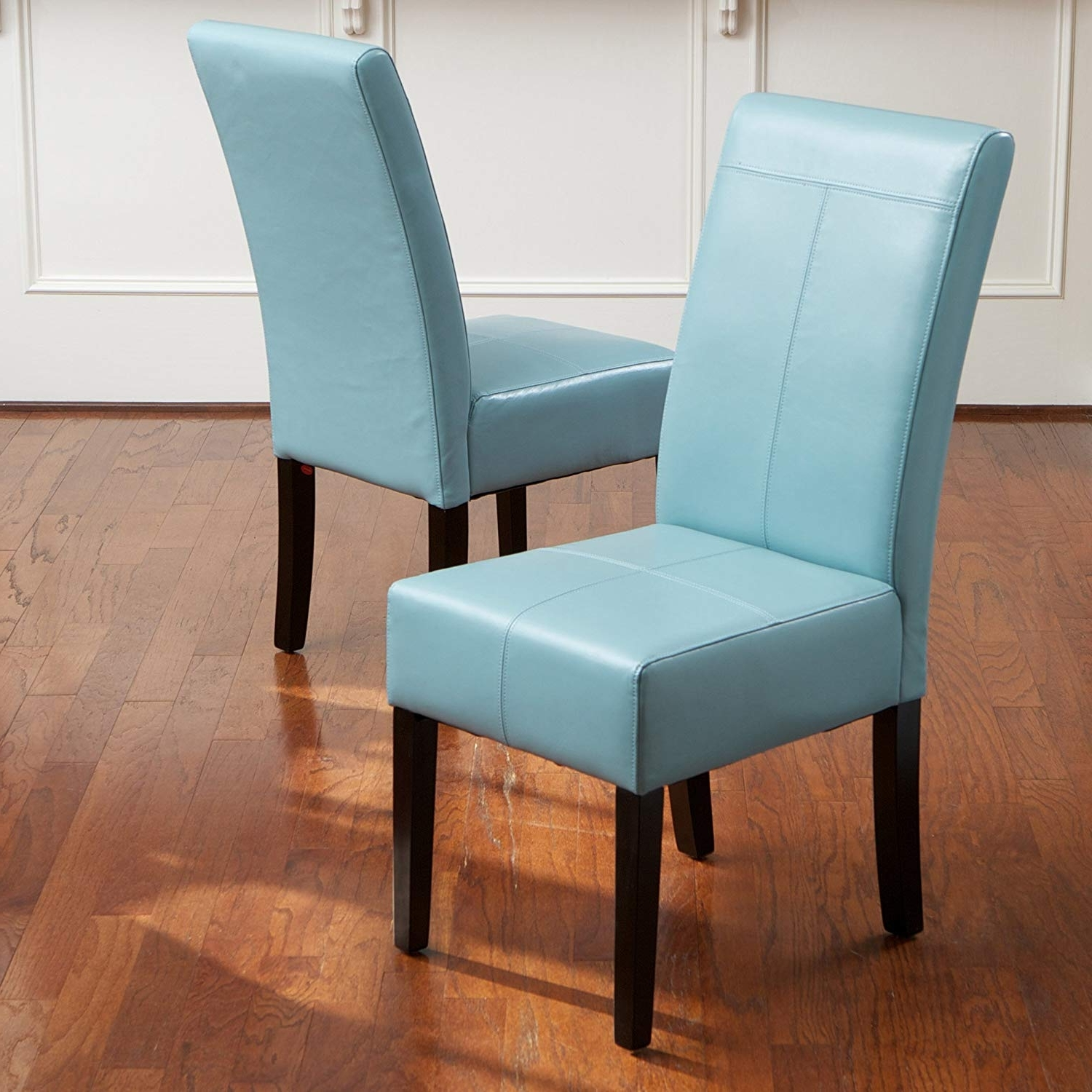 Favorite Amazon – Stella Teal Blue Leather Dining Chair (set Of 2) – Chairs With Regard To Celler Grey Side Chairs (View 6 of 20)