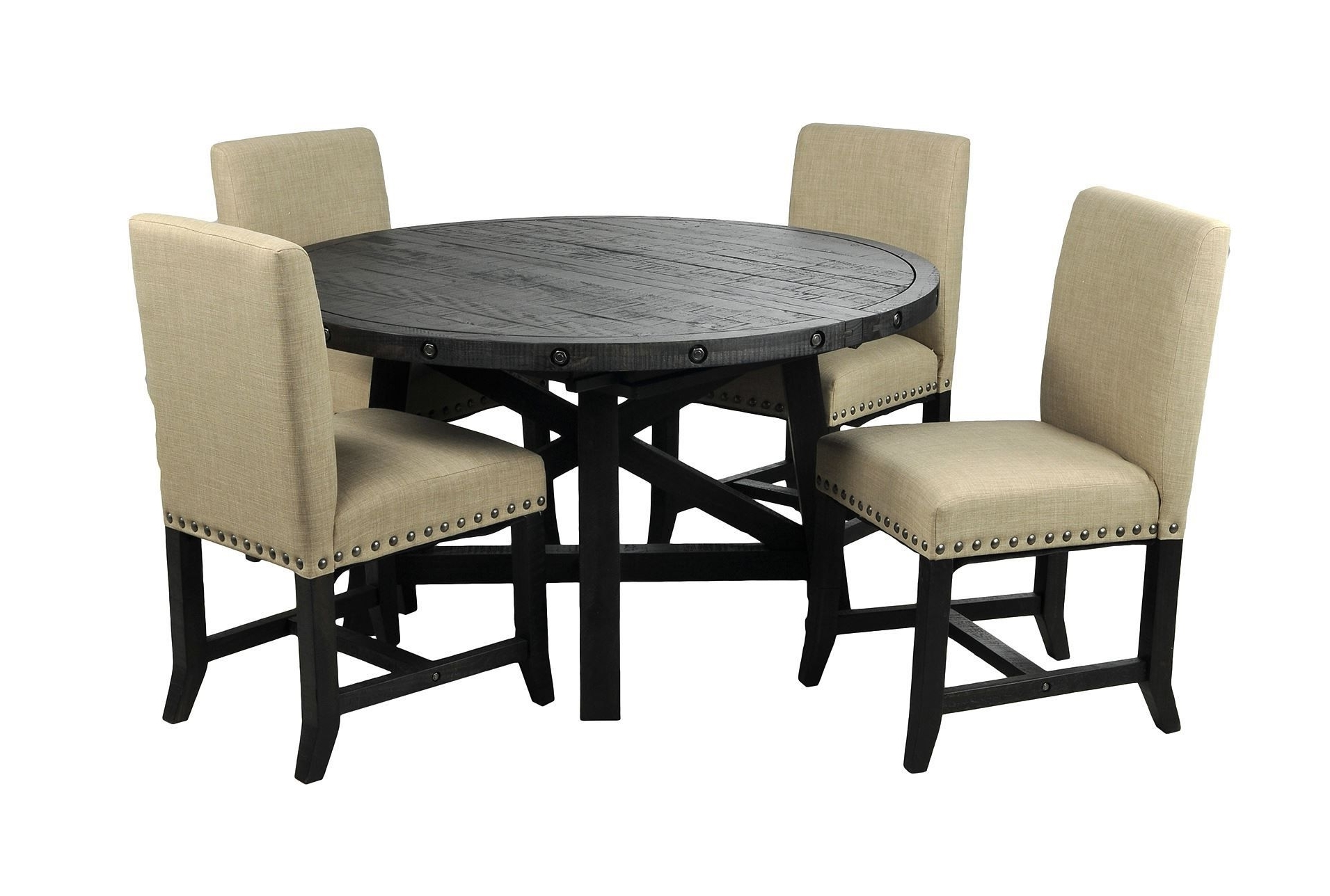 Favorite Jaxon 5 Piece Round Dining Set W/upholstered Chairs (View 5 of 20)