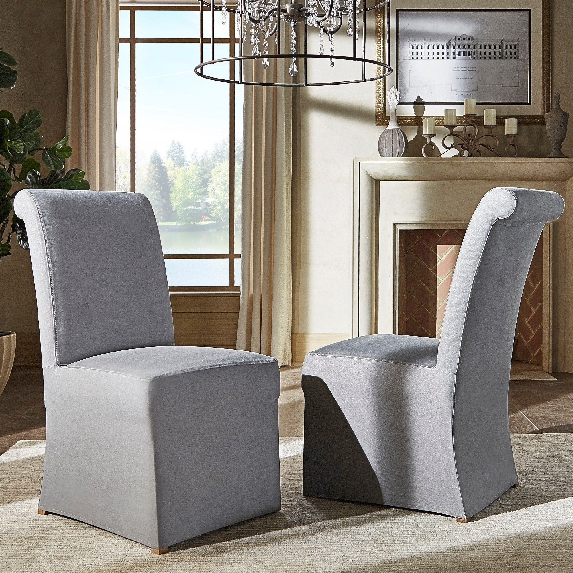 Garten Marble Skirted Side Chairs Set Of 2 Pertaining To Most Current Shop Potomac Slipcovered Rolled Back Parsons Chairs (set Of 2) (View 16 of 20)