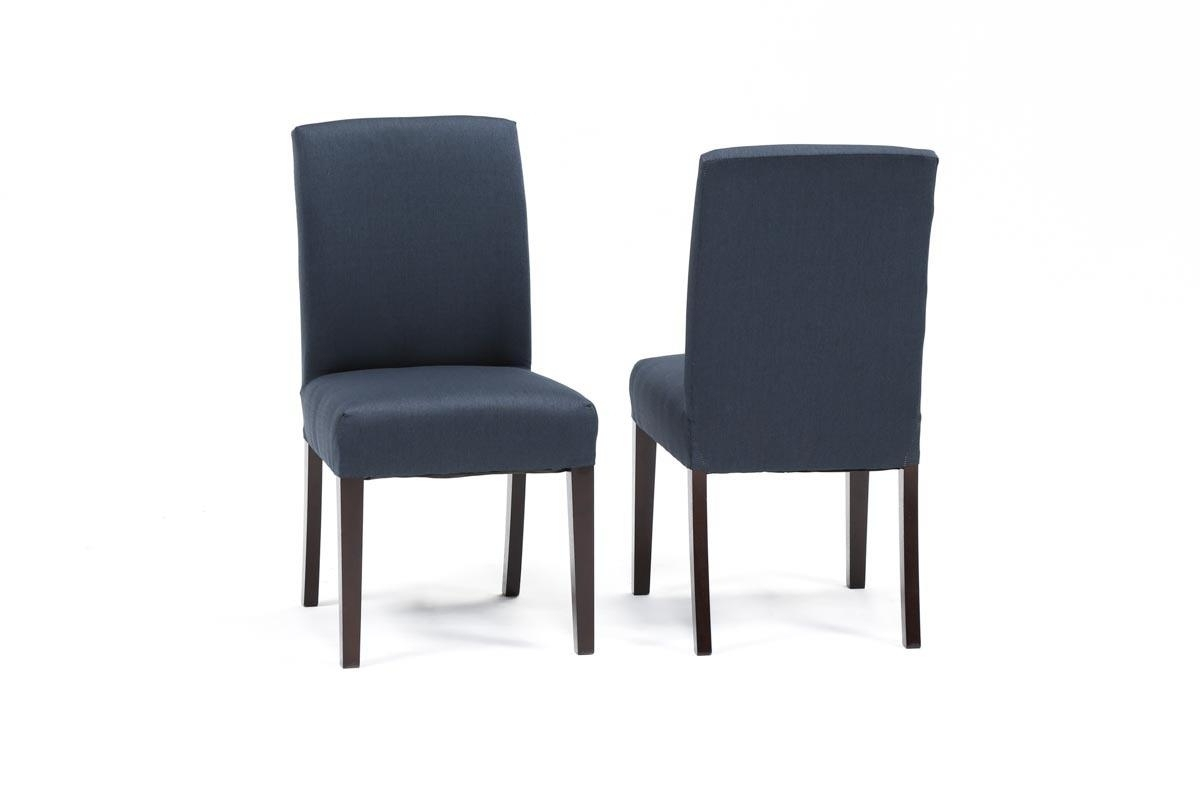 Garten Navy Chairs W/espresso Finish Set Of 2 (Gallery 3 of 20)