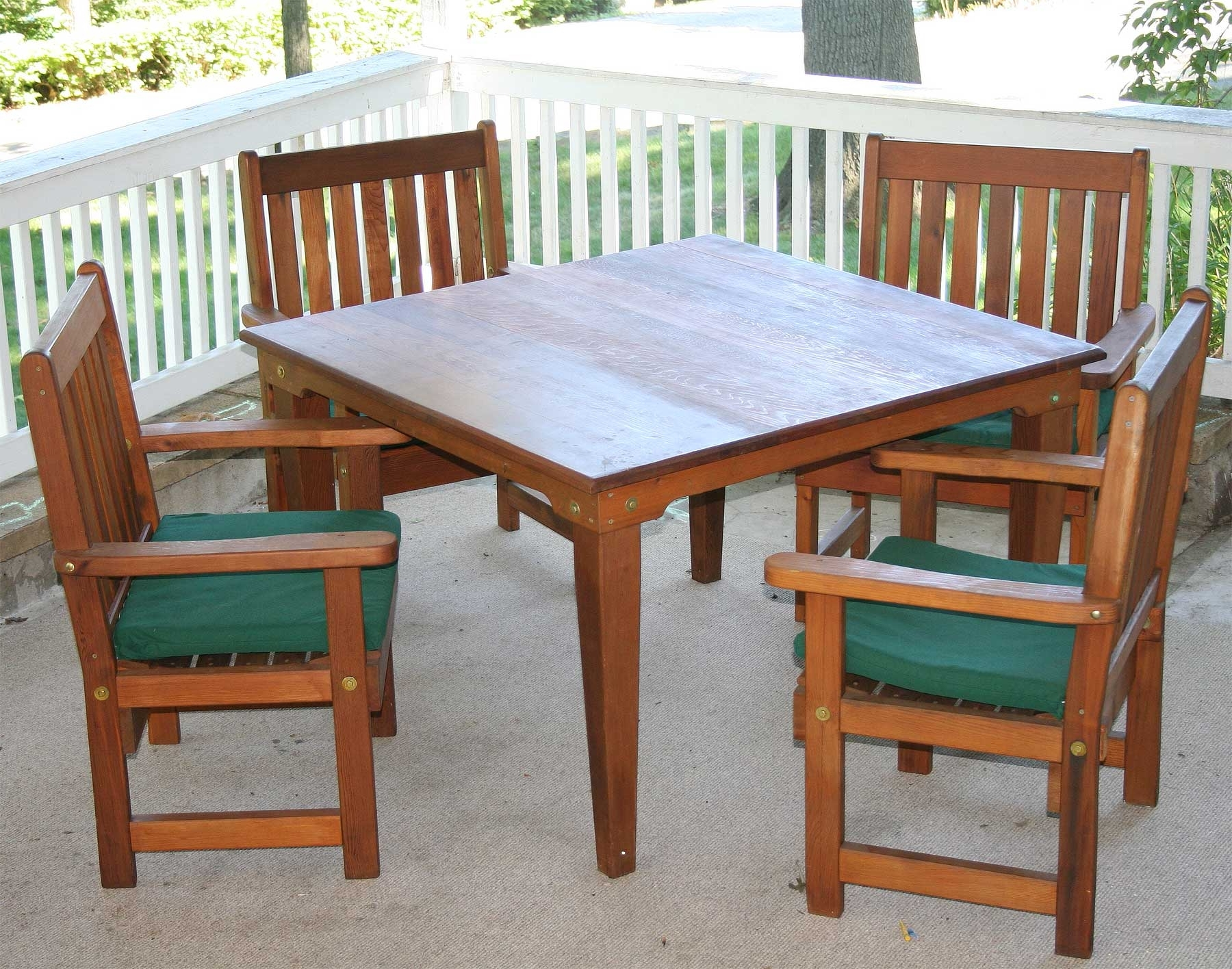 Green Cedar Dining Chairs In Fashionable Red Cedar Square Patio Dining Set (Gallery 13 of 20)