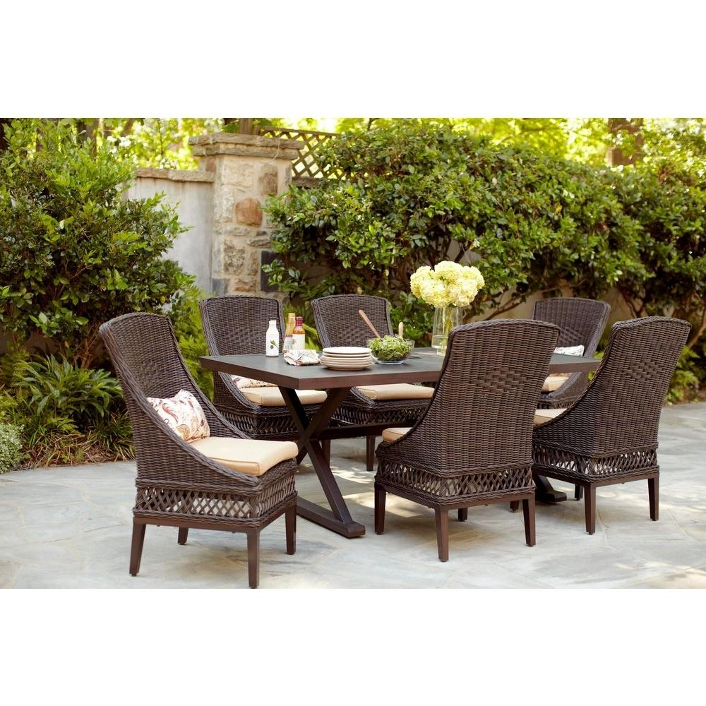 Green Cedar Dining Chairs Throughout 2017 Hampton Bay Woodbury 7 Piece Wicker Outdoor Patio Dining Set With (View 12 of 20)