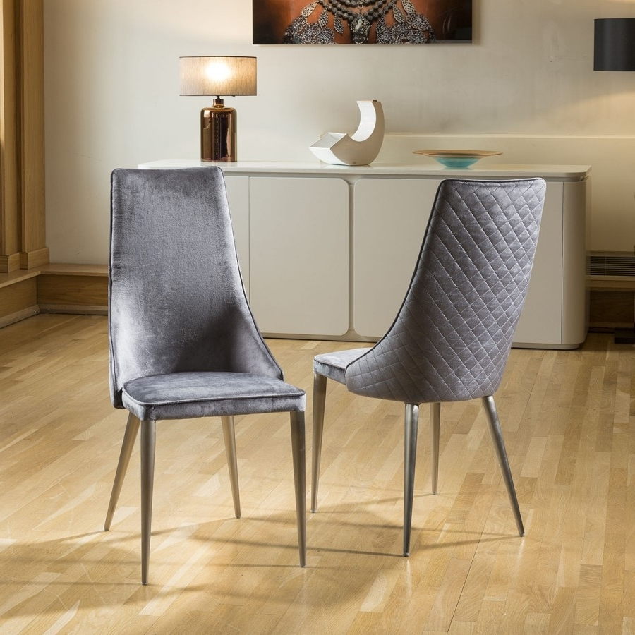 Grey Dining Chairs For Popular Set Of 2 Sleek Velvet High Back Modern Dining Chairs Grey Fabric (Gallery 3 of 20)