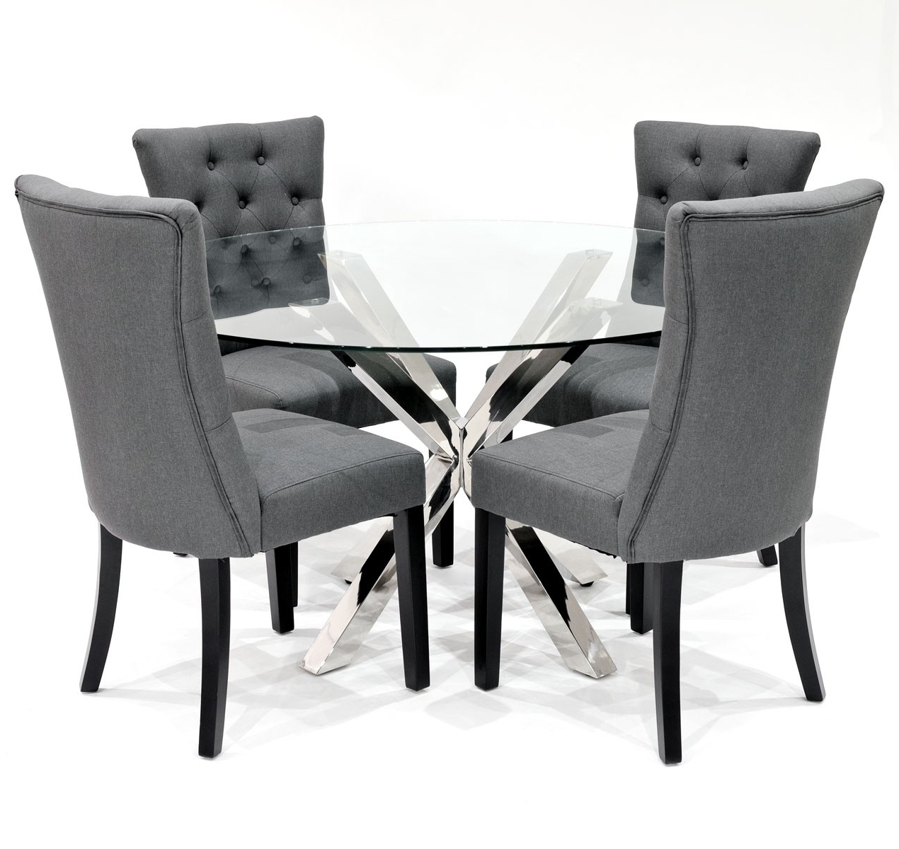 Grey Dining Chairs Within Trendy Crossly Dining Table And Sanderson Grey Dining Chair Set – Be Fabulous! (Gallery 2 of 20)