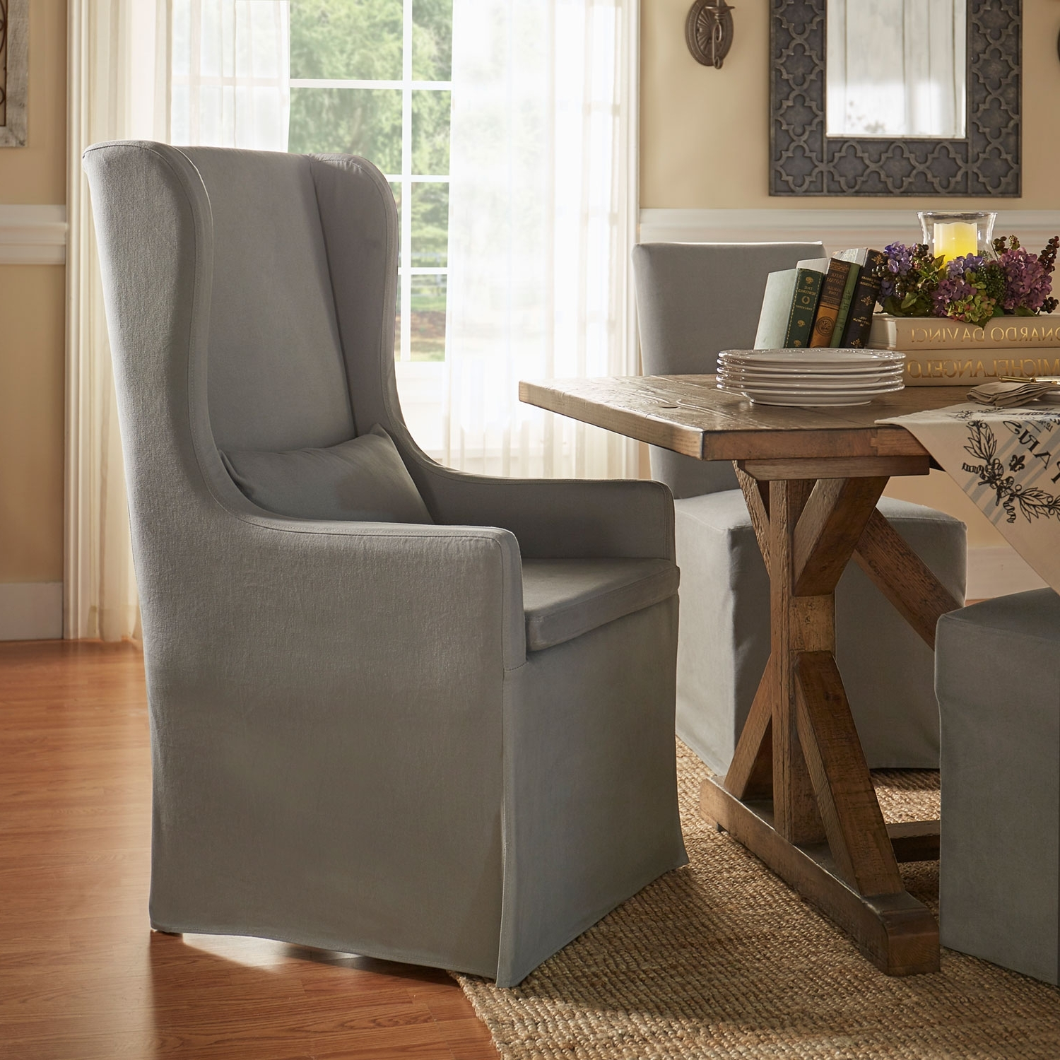 Homehills Lisle Grey Slipcover Wingback Host Chair 22E703C1Pc Gaf(3A Within Recent Pearson Grey Slipcovered Side Chairs (Gallery 17 of 20)
