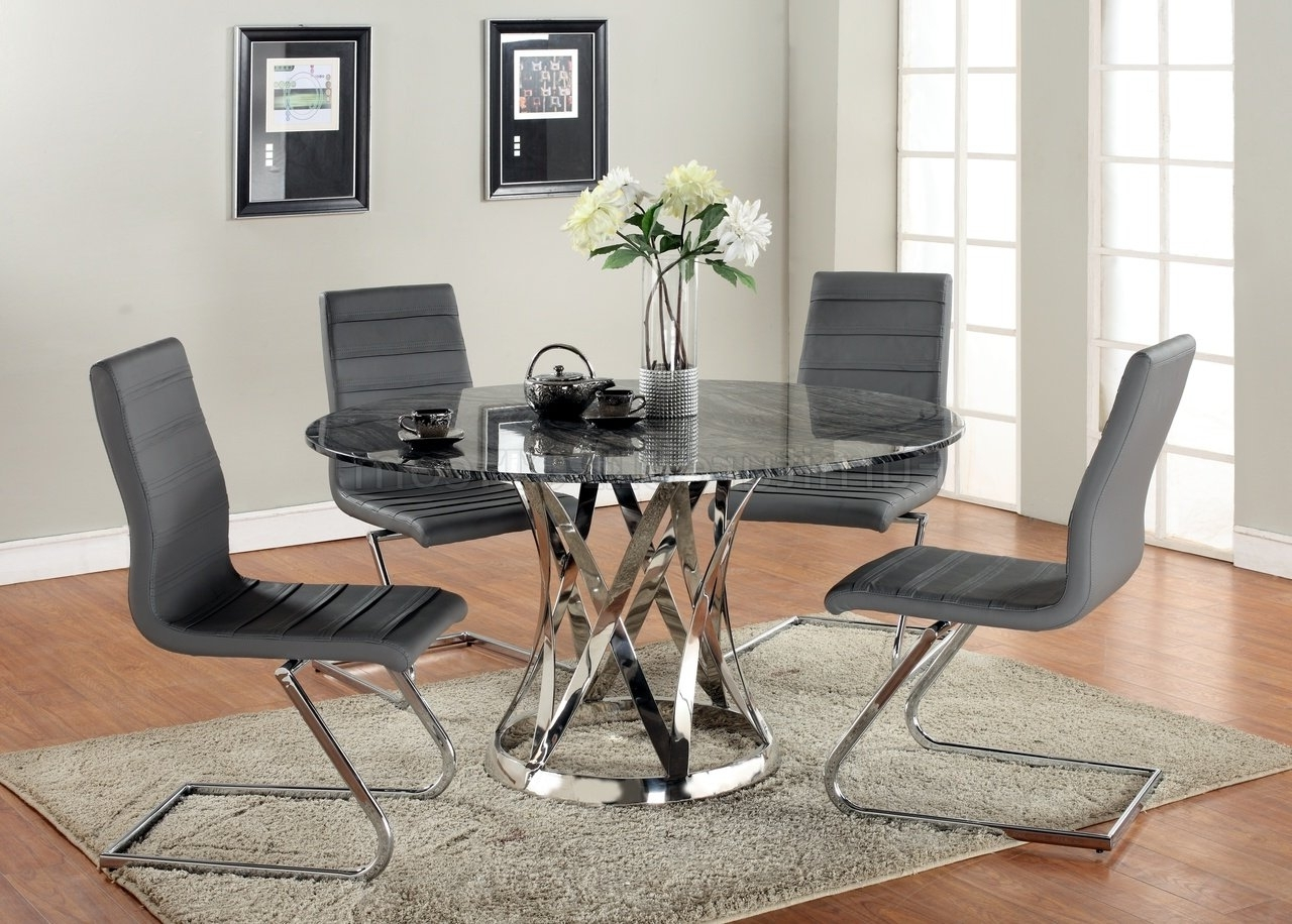 Janet Dining Table 5Pc Set Marble Top & Metal Basechintaly Inside Popular Pilo Grey Side Chairs (View 6 of 20)