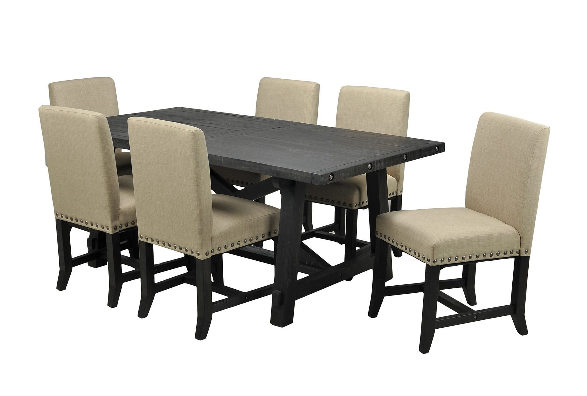 Jaxon 7 Piece Rectangle Dining Set W/upholstered Chairs, Café In Most Recently Released Jaxon Grey Upholstered Side Chairs (View 6 of 20)