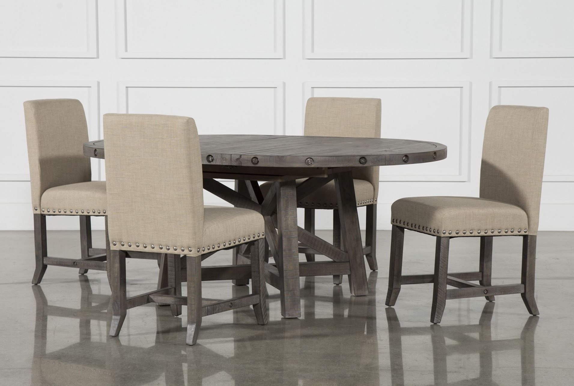 Jaxon Grey 5 Piece Round Extension Dining Set W/upholstered Chairs Within Recent Mindy Slipcovered Side Chairs (Gallery 16 of 20)